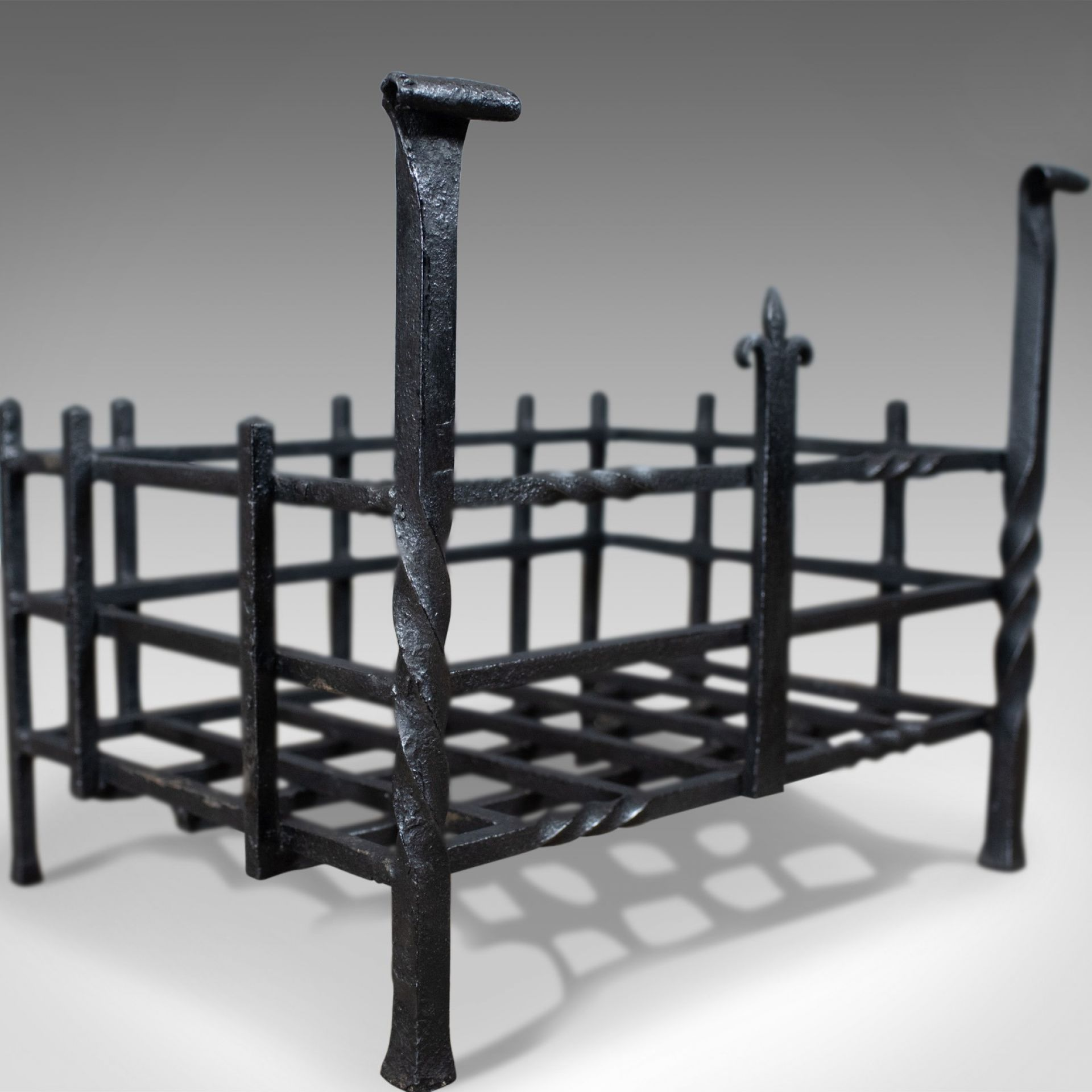 Antique Fire Basket, Gothic, Free Standing, Forged Iron, Fireplace Grate c.1900