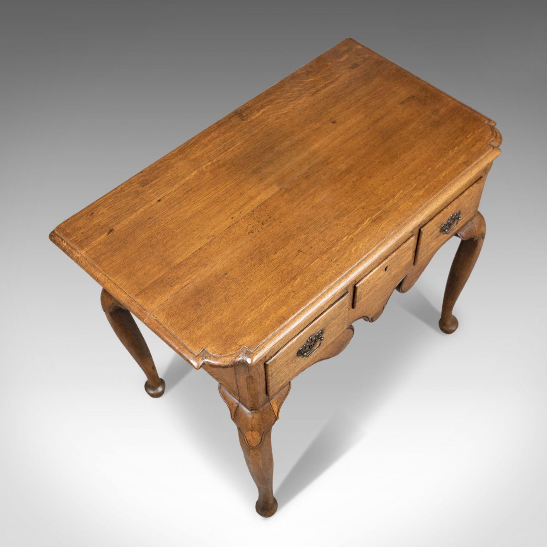 Antique Lowboy, English, Late Victorian, Oak Table, Circa 1900