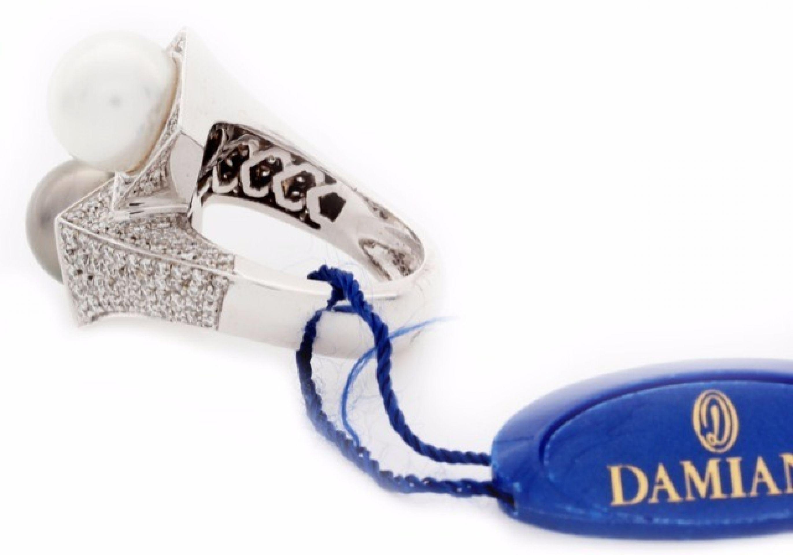 """Damiani Pearl and Diamond Ring """"Mikawa"""" in 18K White Gold."""