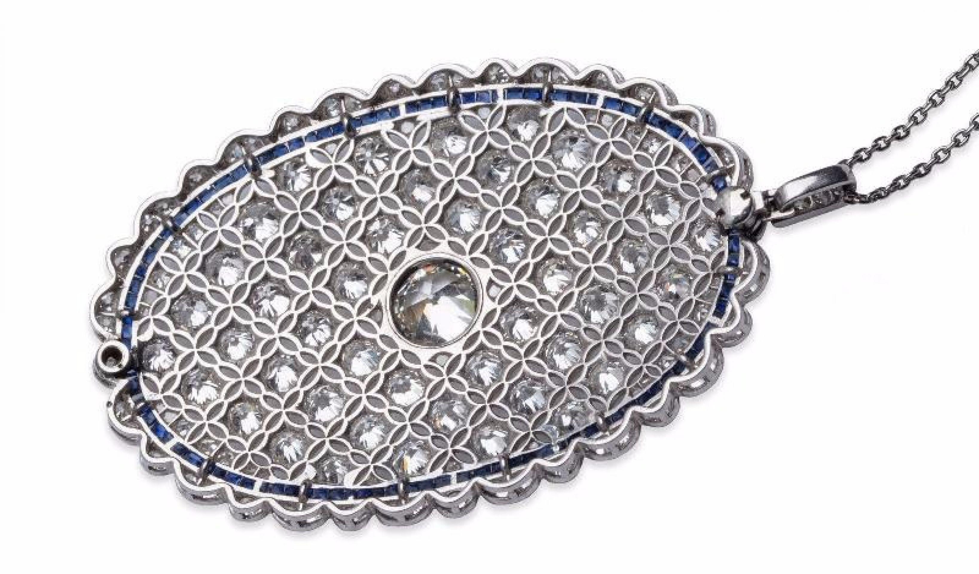 Antique Old European Cut Diamond and Sapphire Filigree Pendant