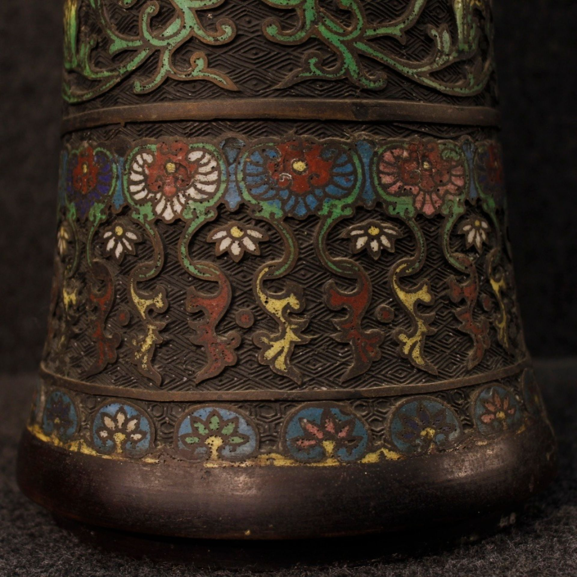 19th Century Painted Bronze Cloisonné Chinese Vases, 1880