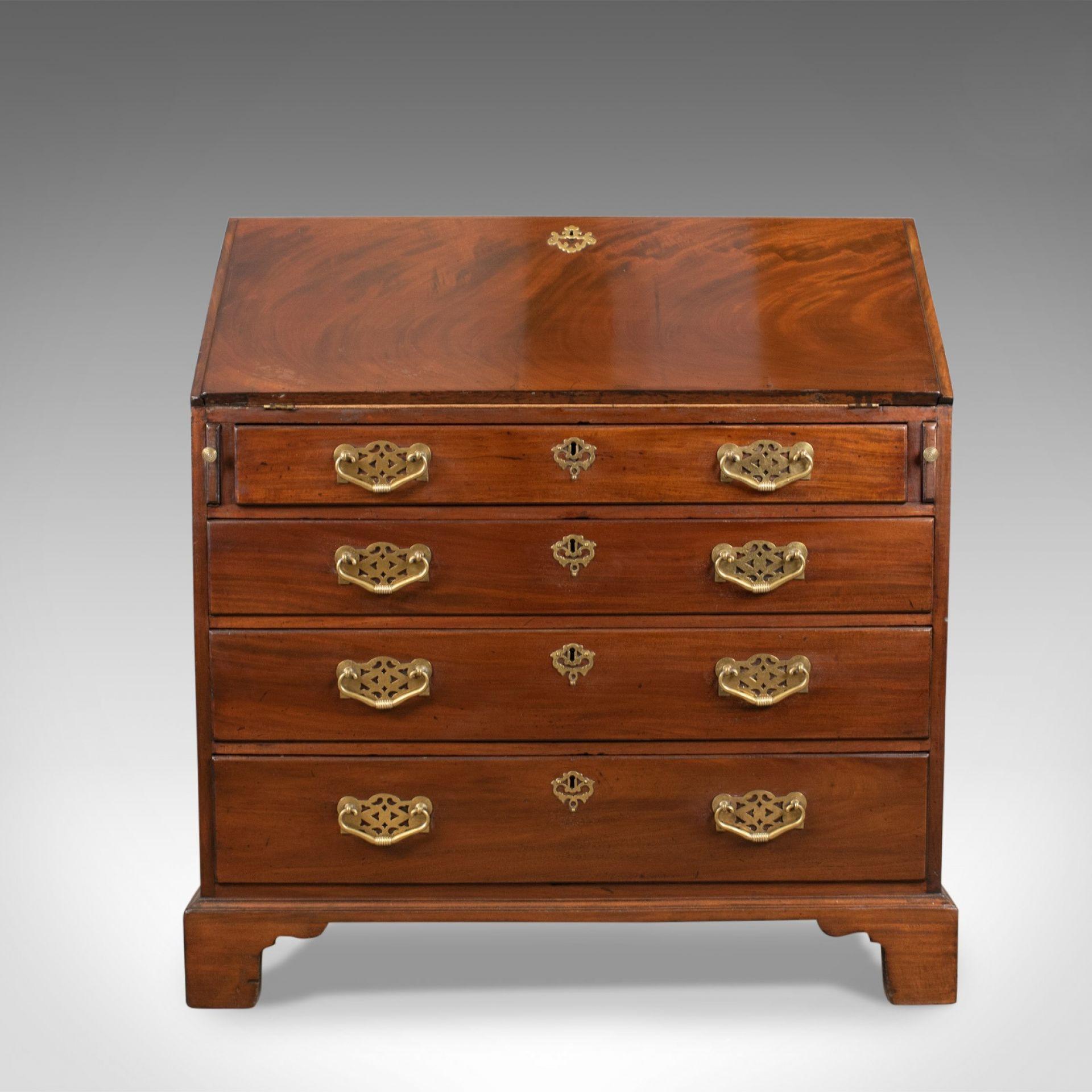 Antique Bureau, Mahogany, English, Georgian, Generous Desk Space, Circa 1800