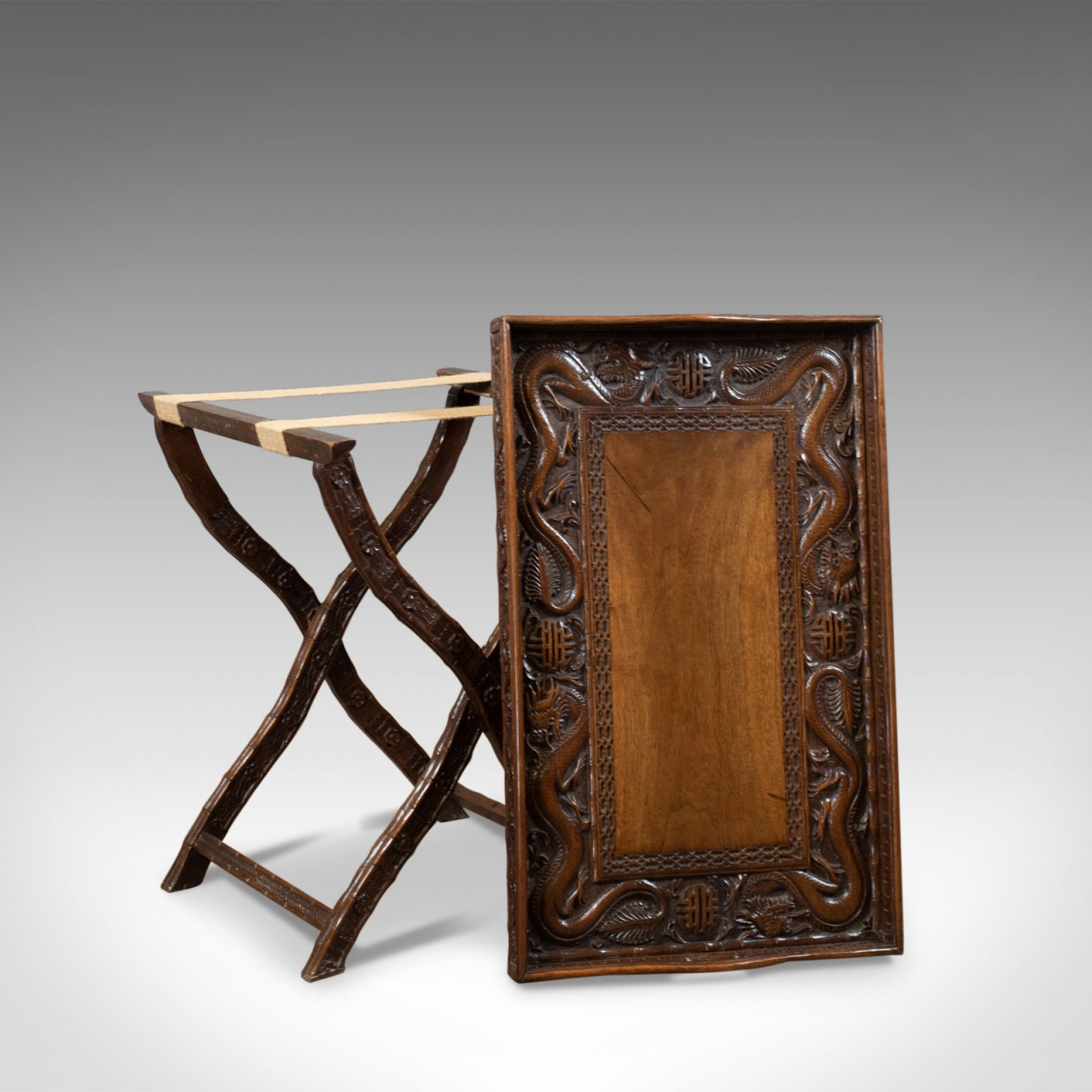 Antique Butler's Tray Table, Carved, Oriental Teak, Folding Stand, Circa 1900