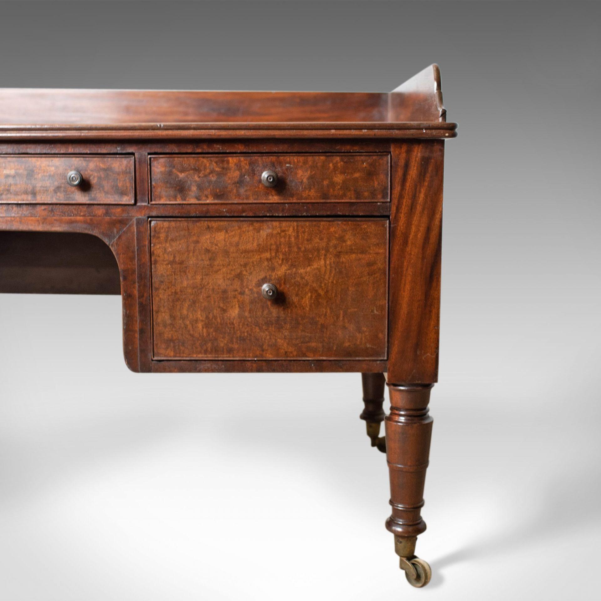 Antique Desk, Large, English, William IV, Mahogany, Kneehole, Circa 1835
