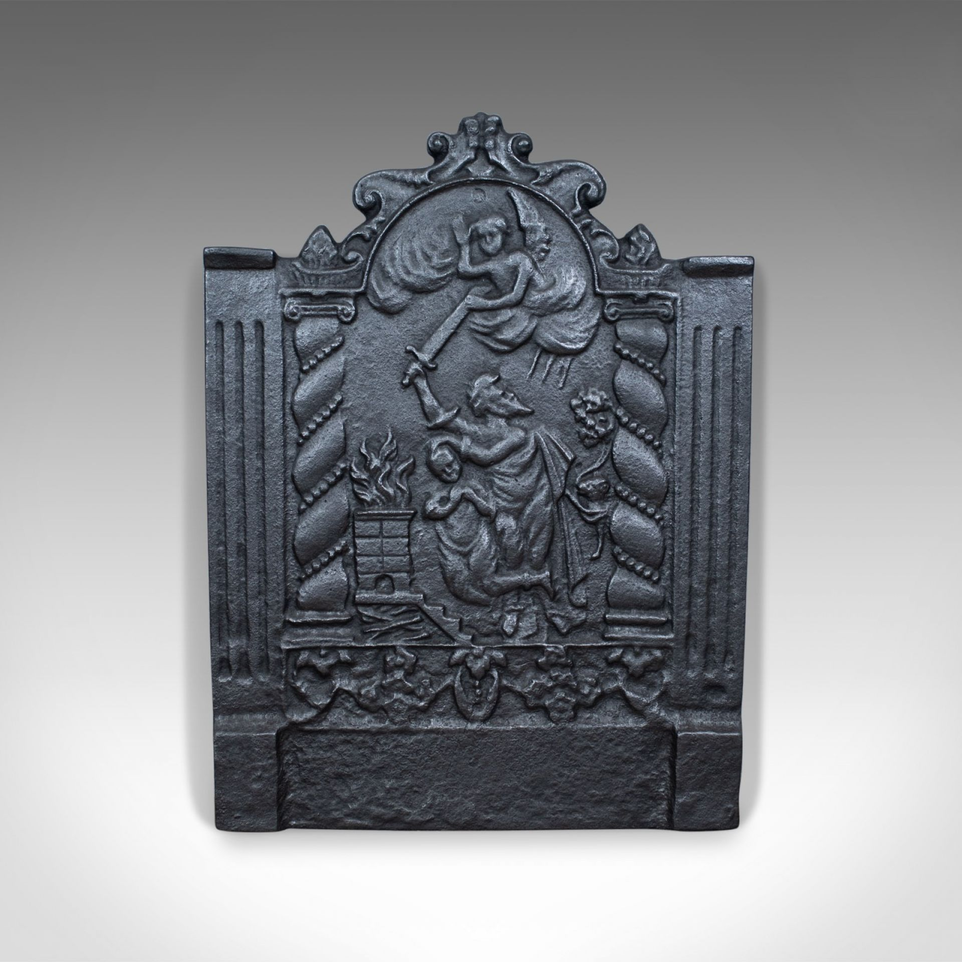Cast Iron Fire Back, 17th Century Revival, Plate, Figures and Angel, Late C20th