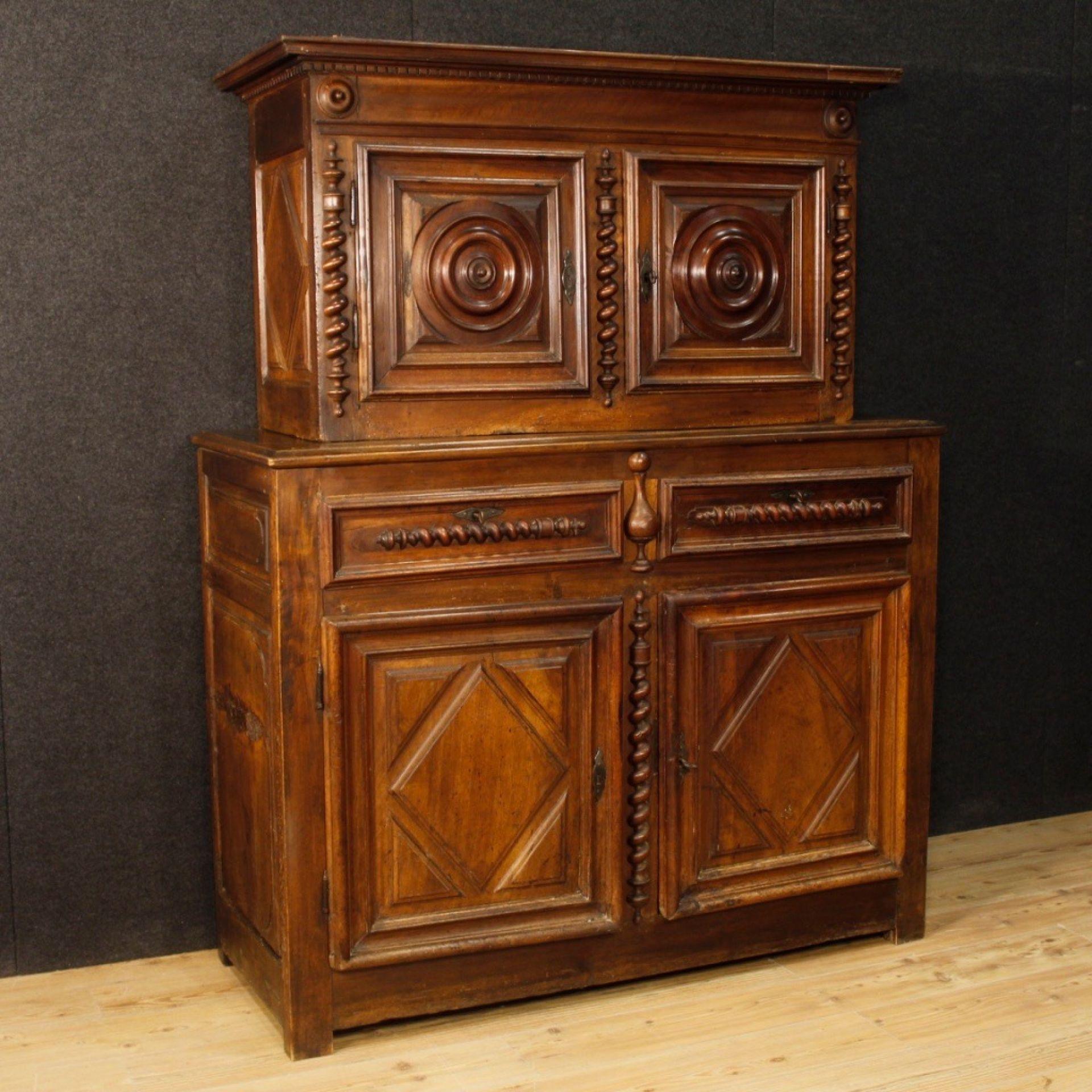 18th Century Walnut Wood French Louis XIII Style Double Body Cupboard, 1770