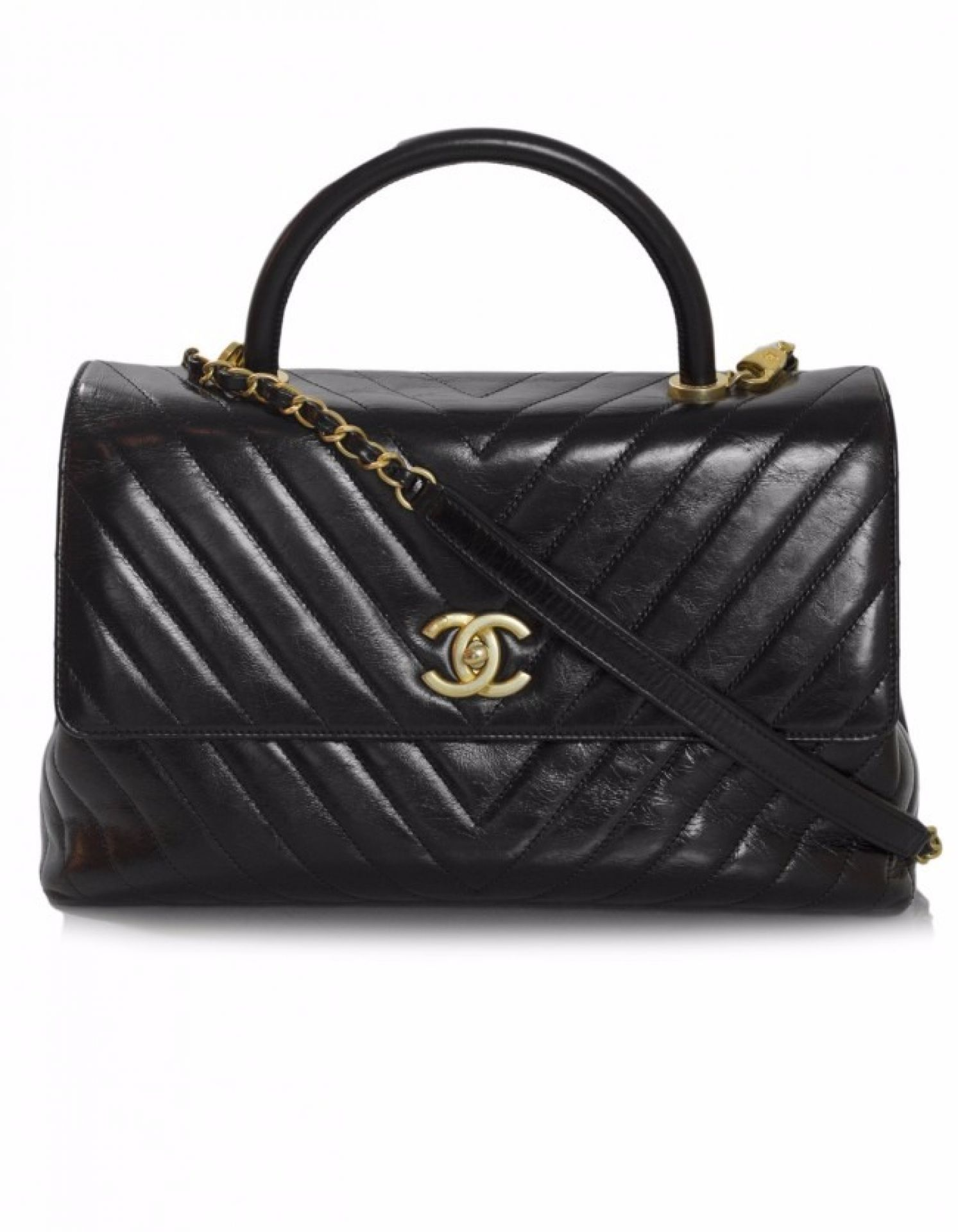 Chanel Black Distressed Calfskin Medium Coco Top Handle Bag