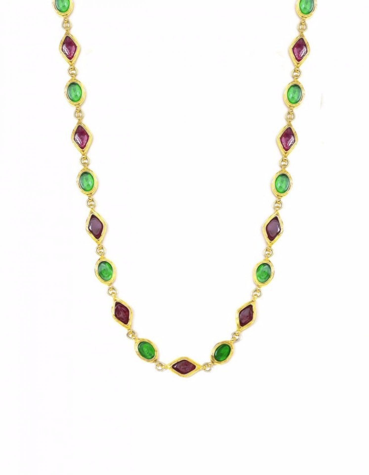 Chanel Green And Red Gripoix Necklace
