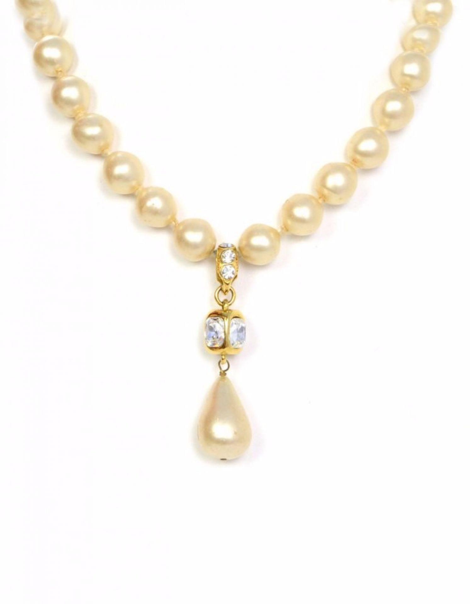 Chanel Vintage '86 Pearl & Crystal Tear Drop Necklace