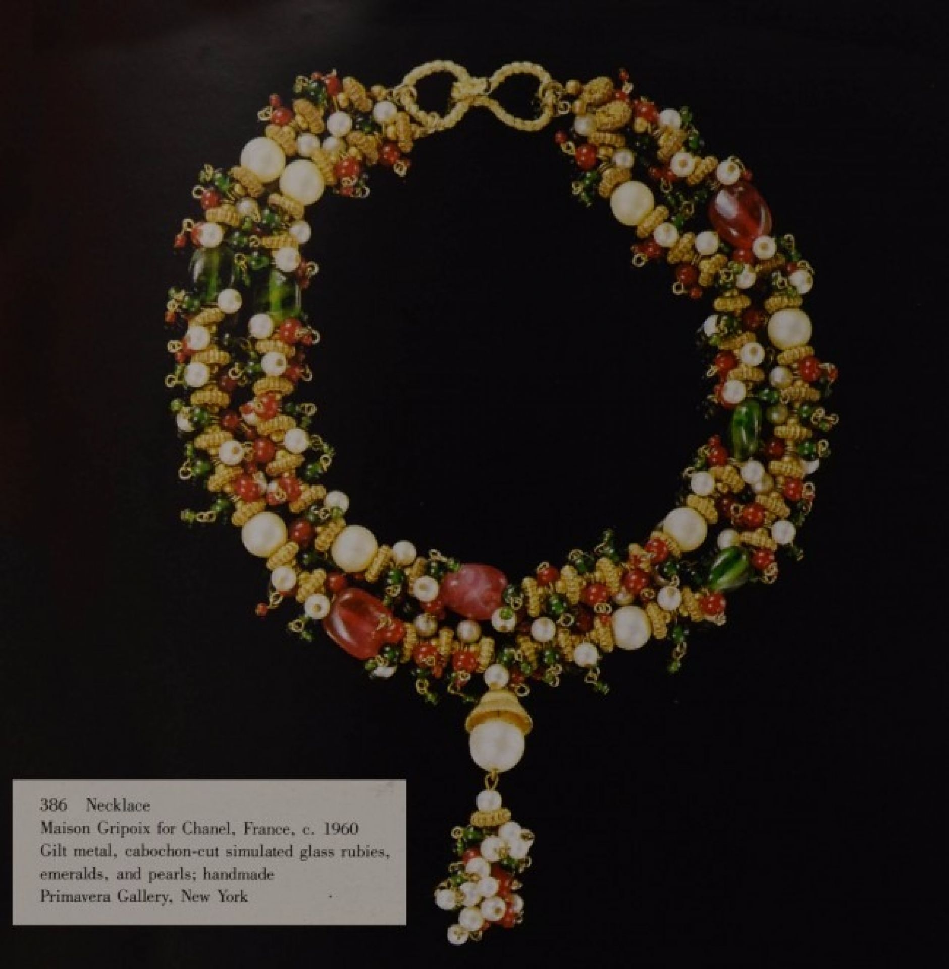 Chanel Vintage '60s Red & Green Gripoix Pearl Necklace