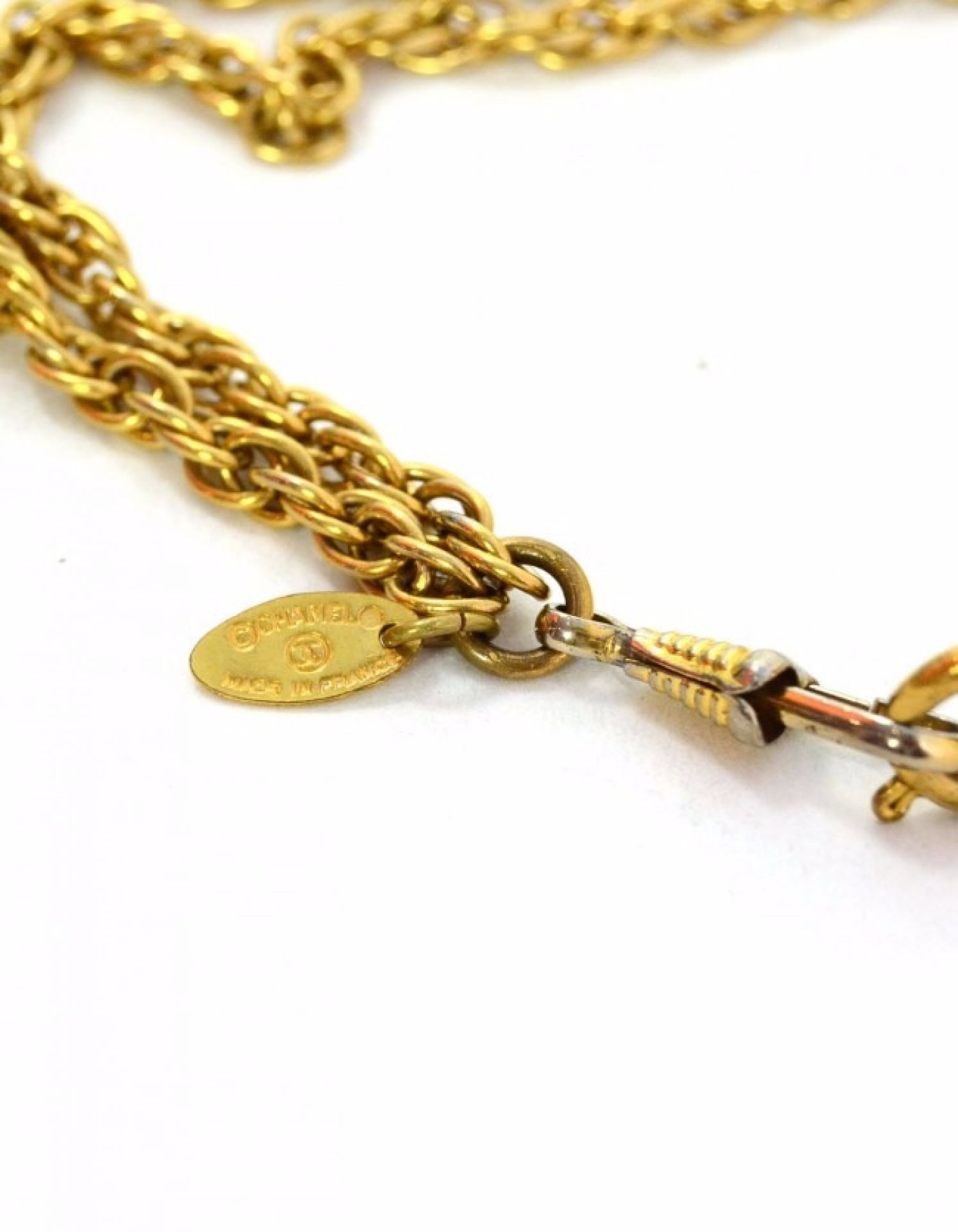 Chanel Gold Double Strand Chain Link Necklace