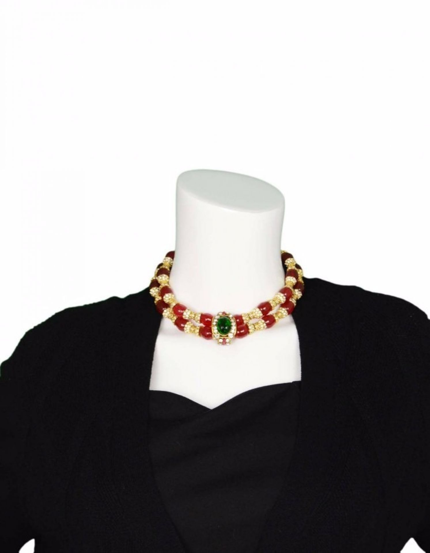 CHANEL Vintage '83 Red Gripoix and Rhinestone Double Tier Necklace