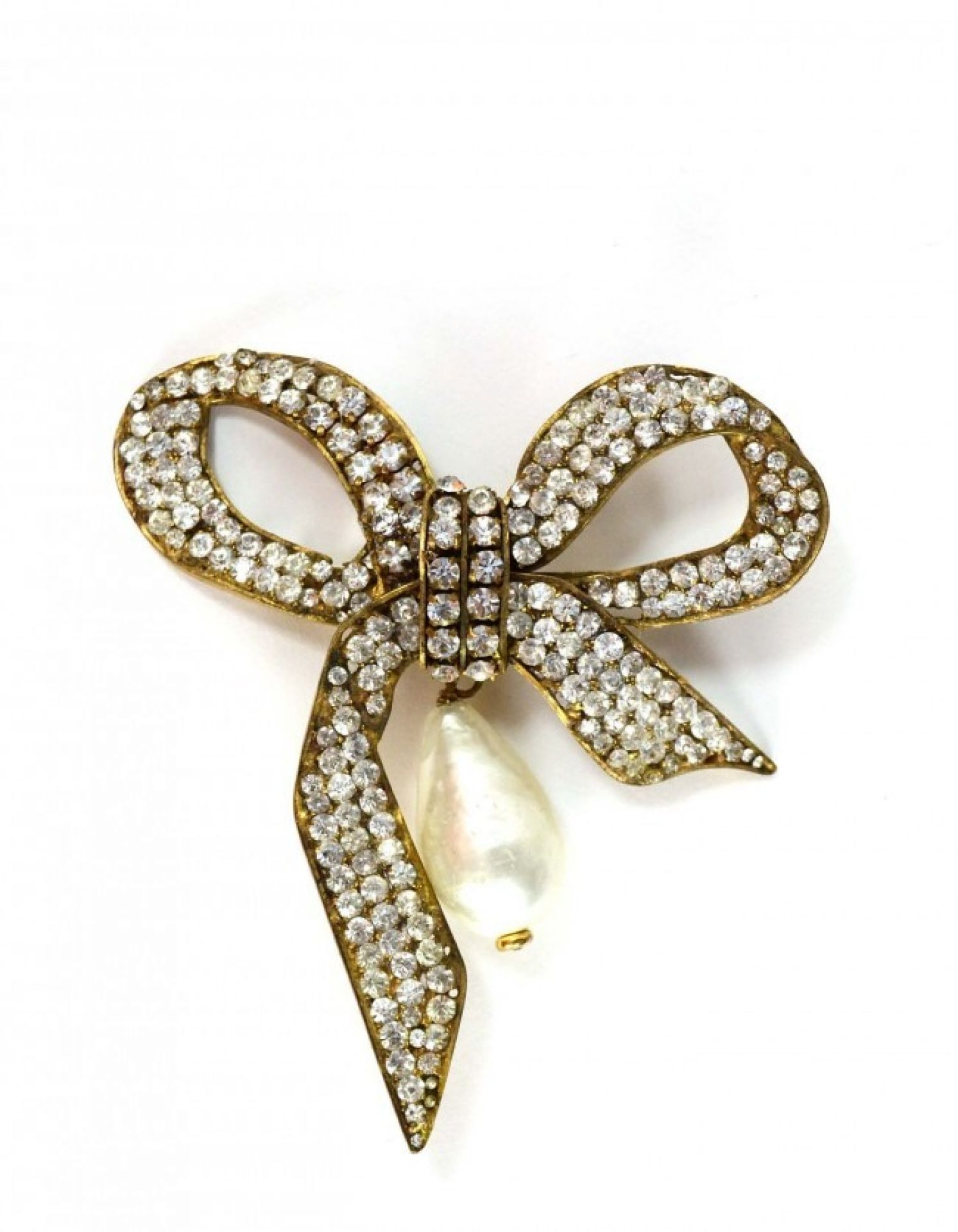 Chanel Vintage '70s Gold Crystal & Pearl Bow Brooch