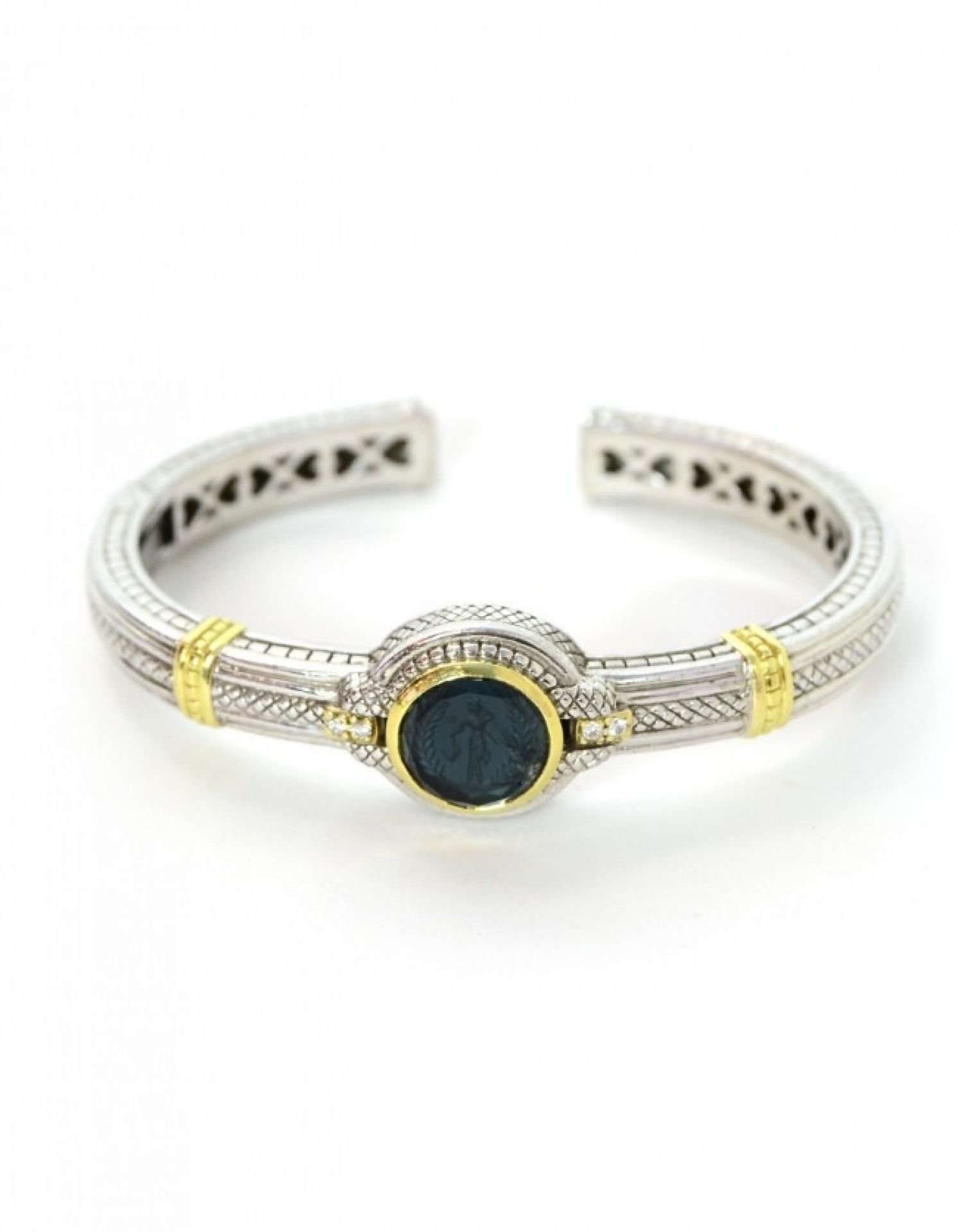 Judith Ripka Sterling/Gold Blue Glass Intaglio Kick Cuff