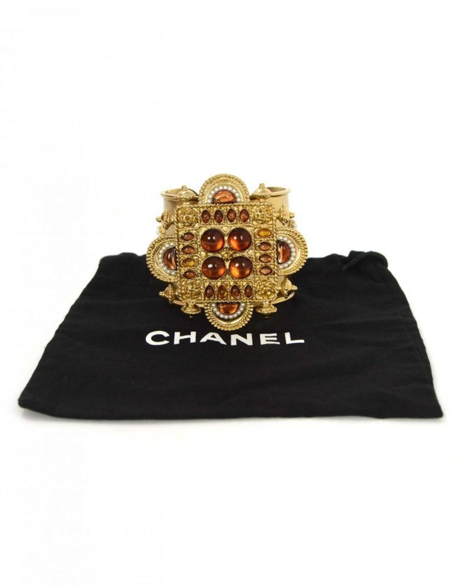 Chanel Gold & Amber Stone Cuff Bracelet