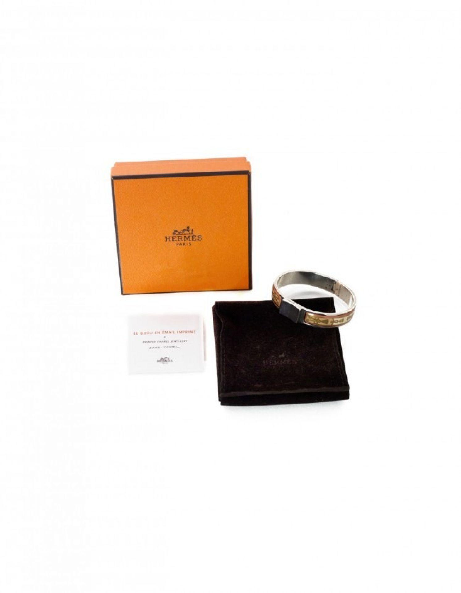 Hermes Pink Tassel Print Enamel & Sterling Loquet Bracelet