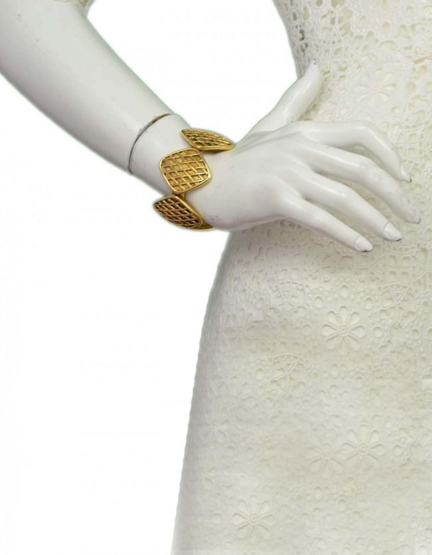 CHANEL Vintage '90s Gold Diamond Cuff Bracelet