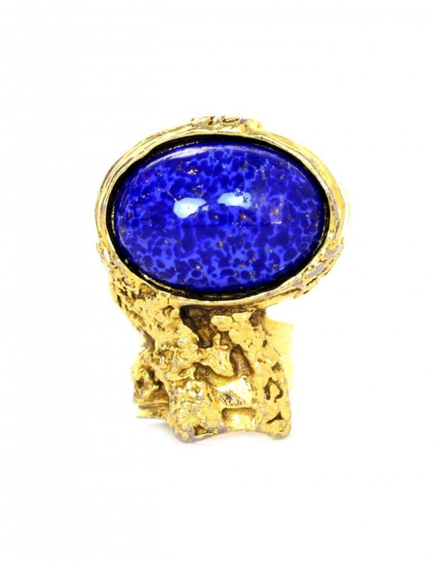 YSL Gold/Blue Arty Cocktail Ring sz 5