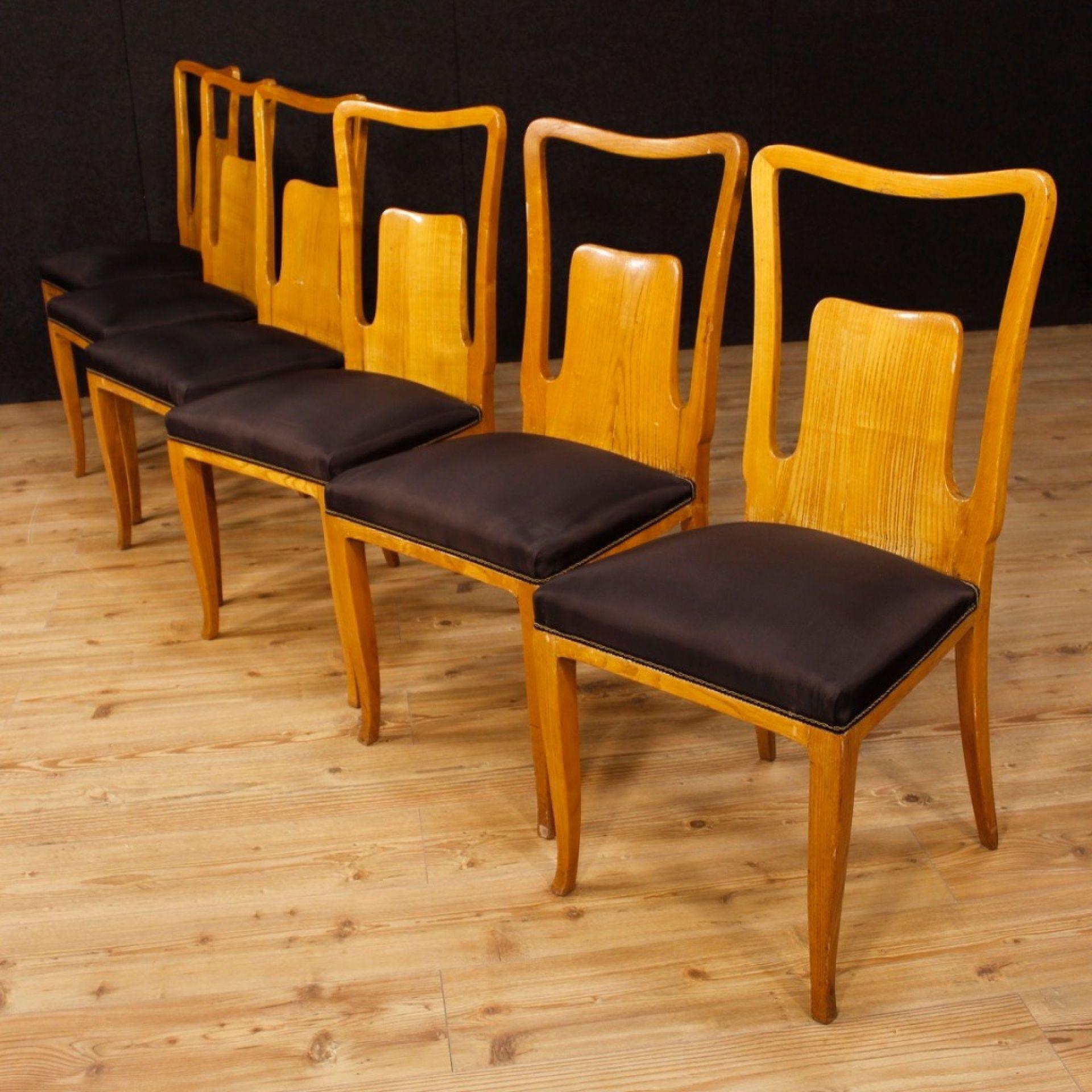Ico Parisi 20th Century Wood and Fabric Italian Design 6 Chairs, 1950