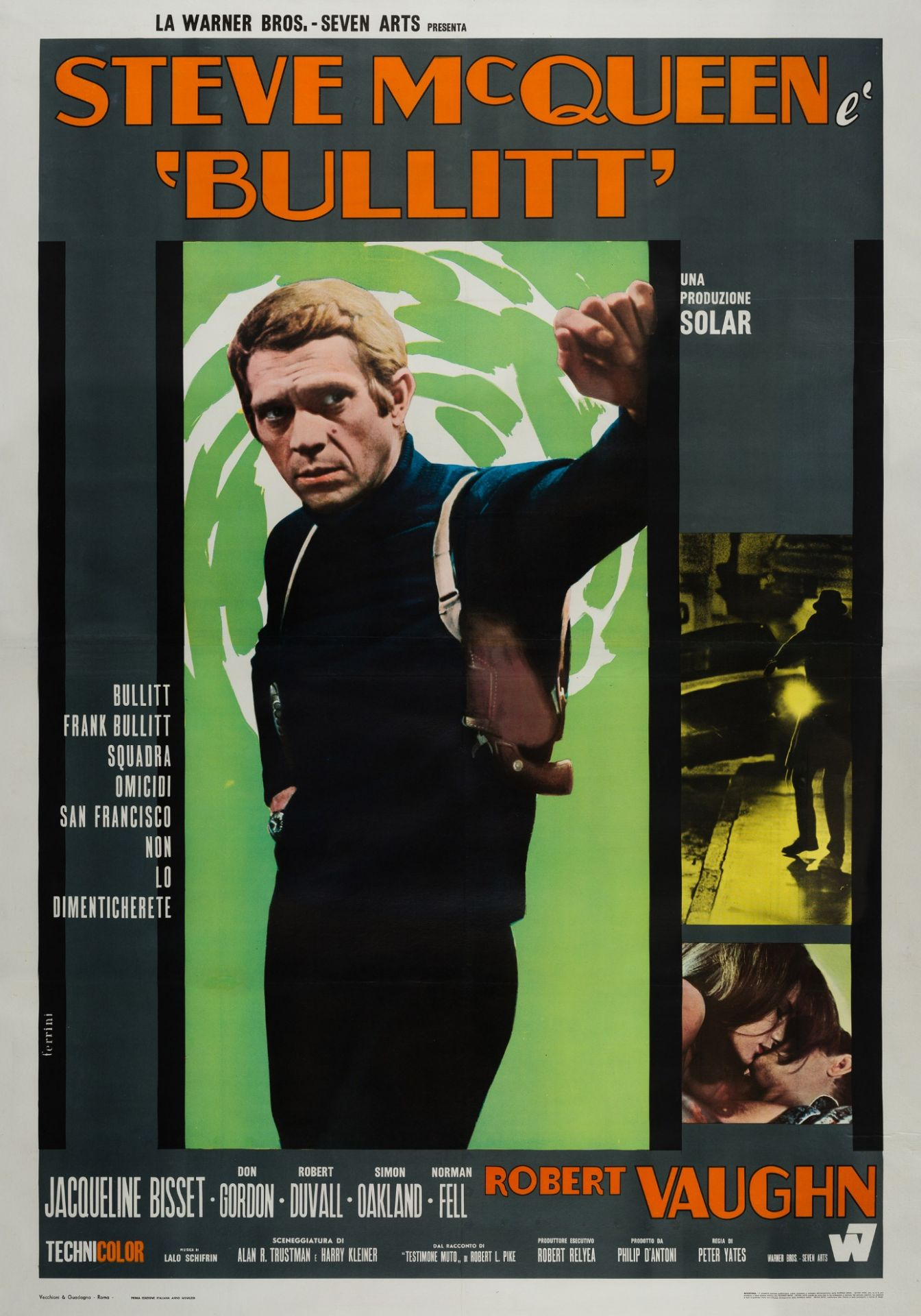 Original Bullitt 1968 Italian 4 Sheet Film Movie Poster, Ferrini, Steve McQueen