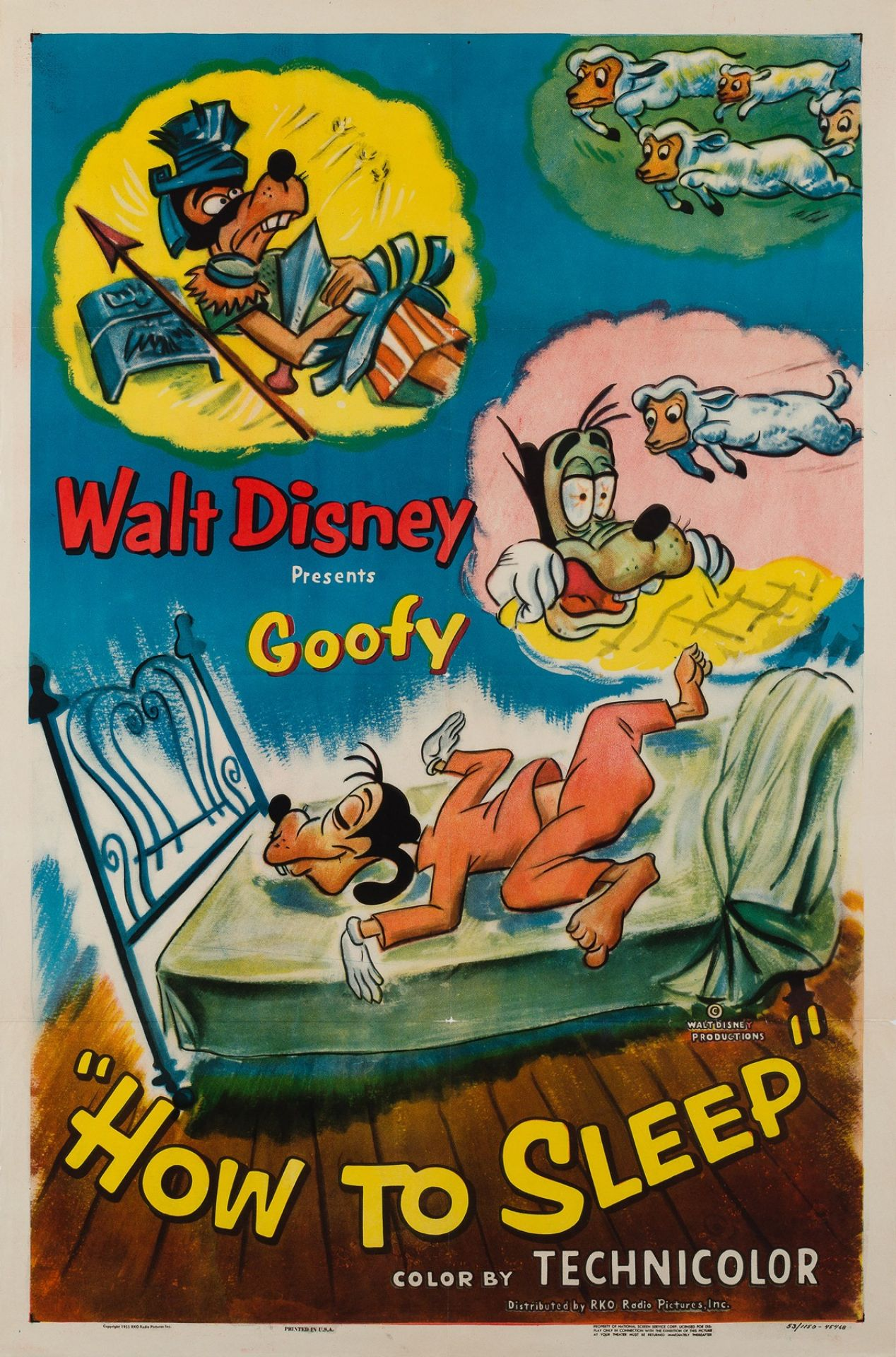 Original How To Sleep 1953 Disney Goofy Film Movie Poster