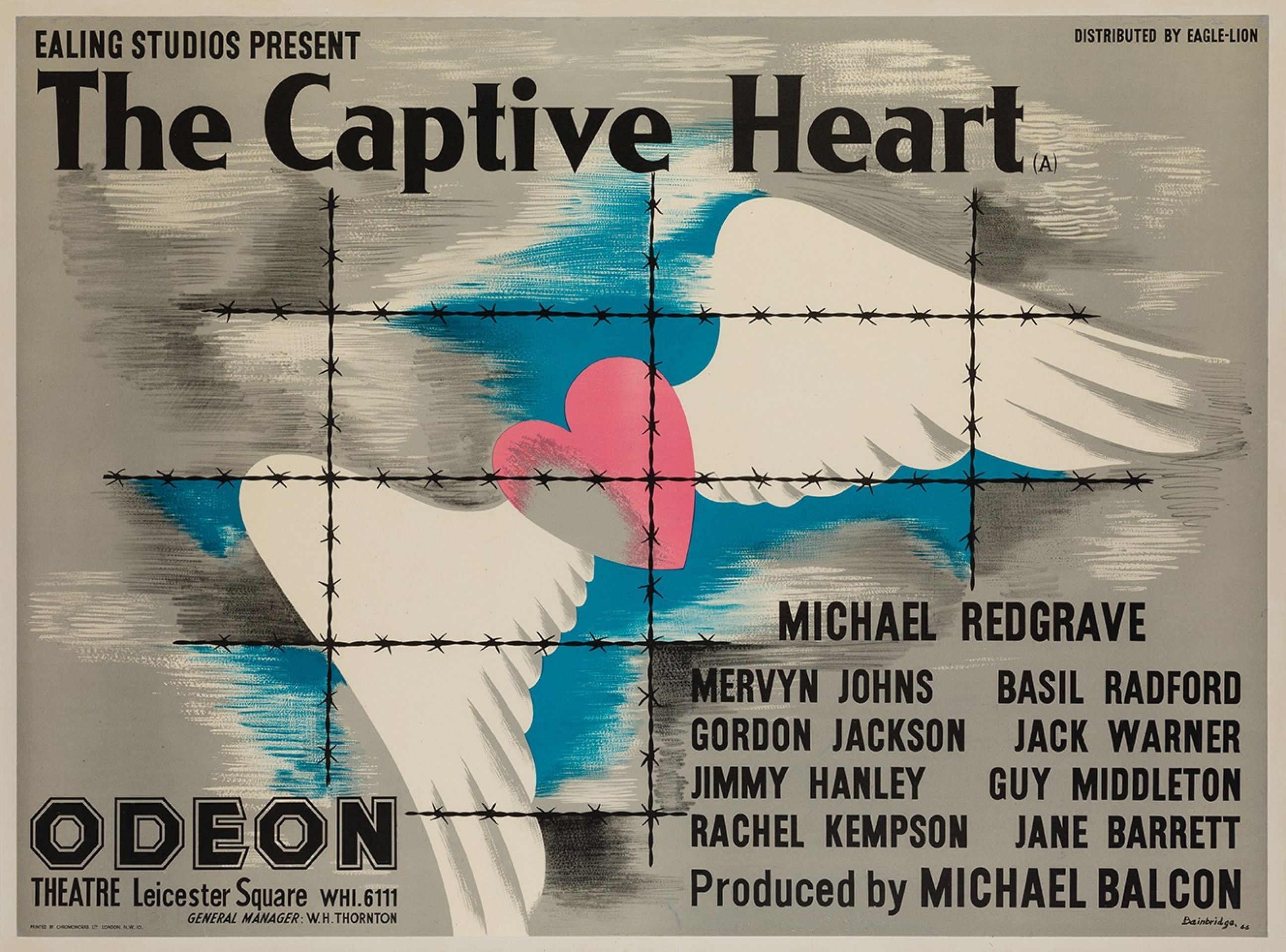 Original The Captive Heart 1946 British Film Movie Poster, Bainbridge, Ealing
