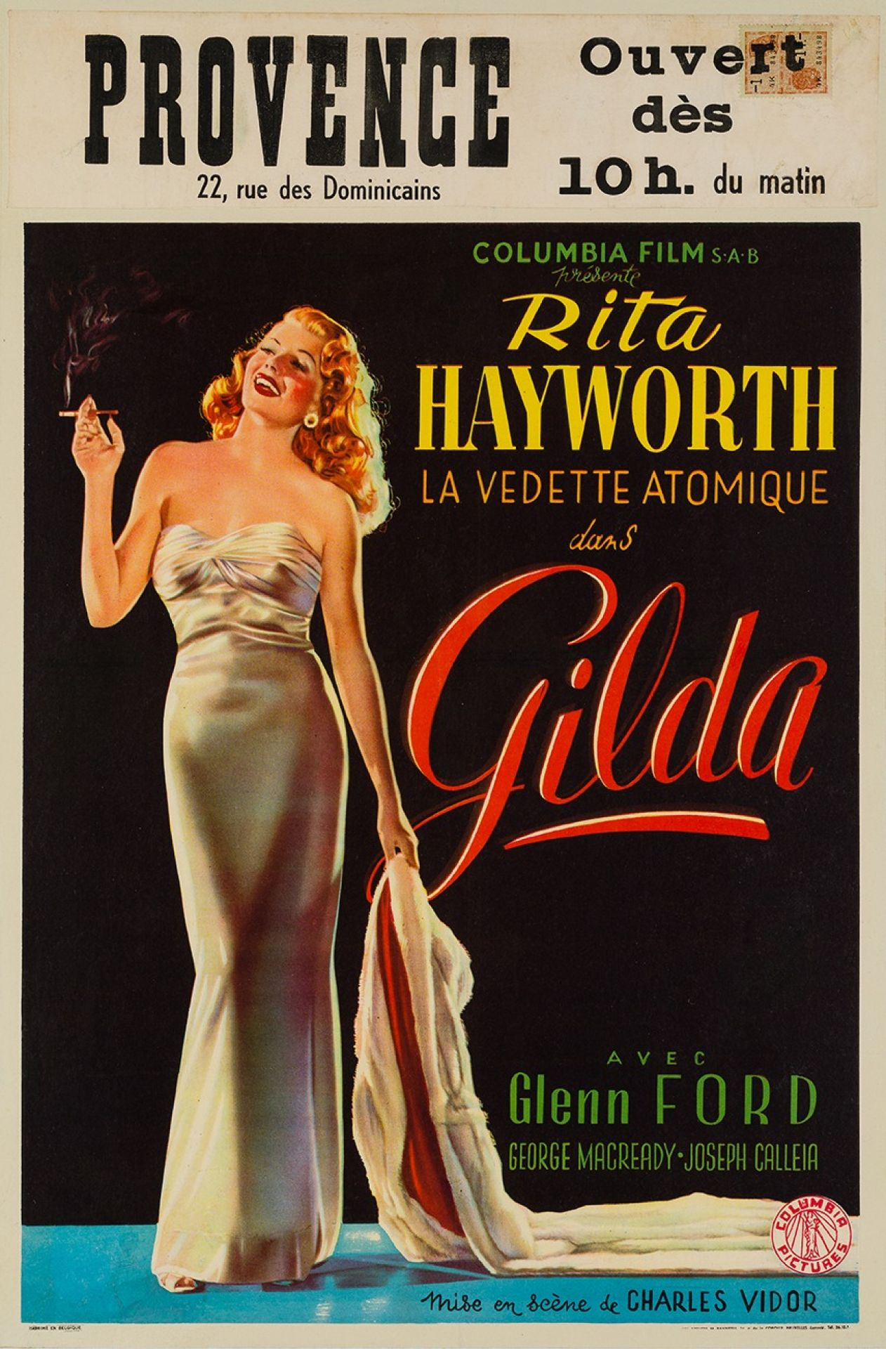 Original Gilda 1946 Belgian Film Movie Poster. Rita Hayworth