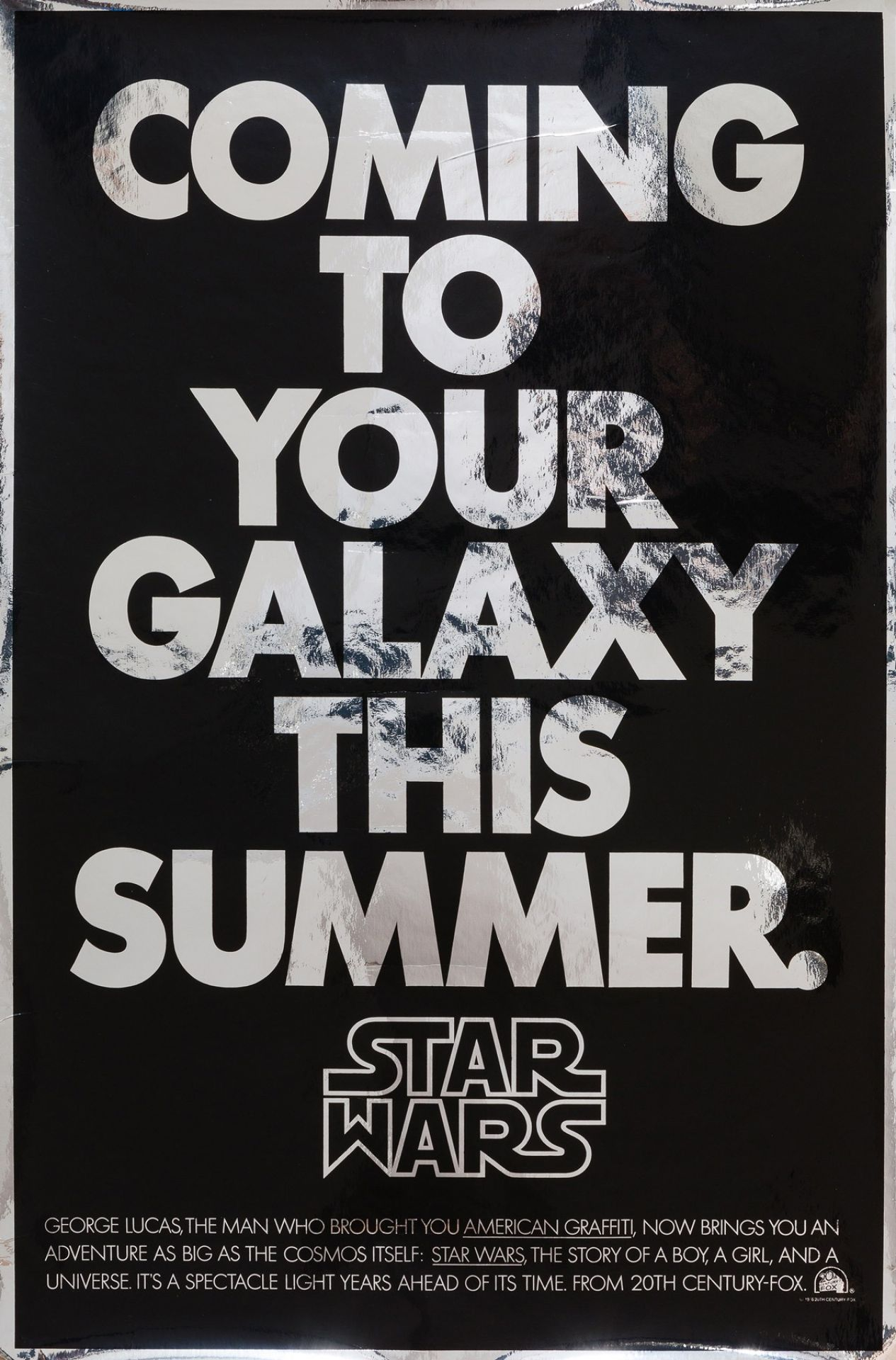 Original Star Wars 1977 US Advance Film Movie Poster