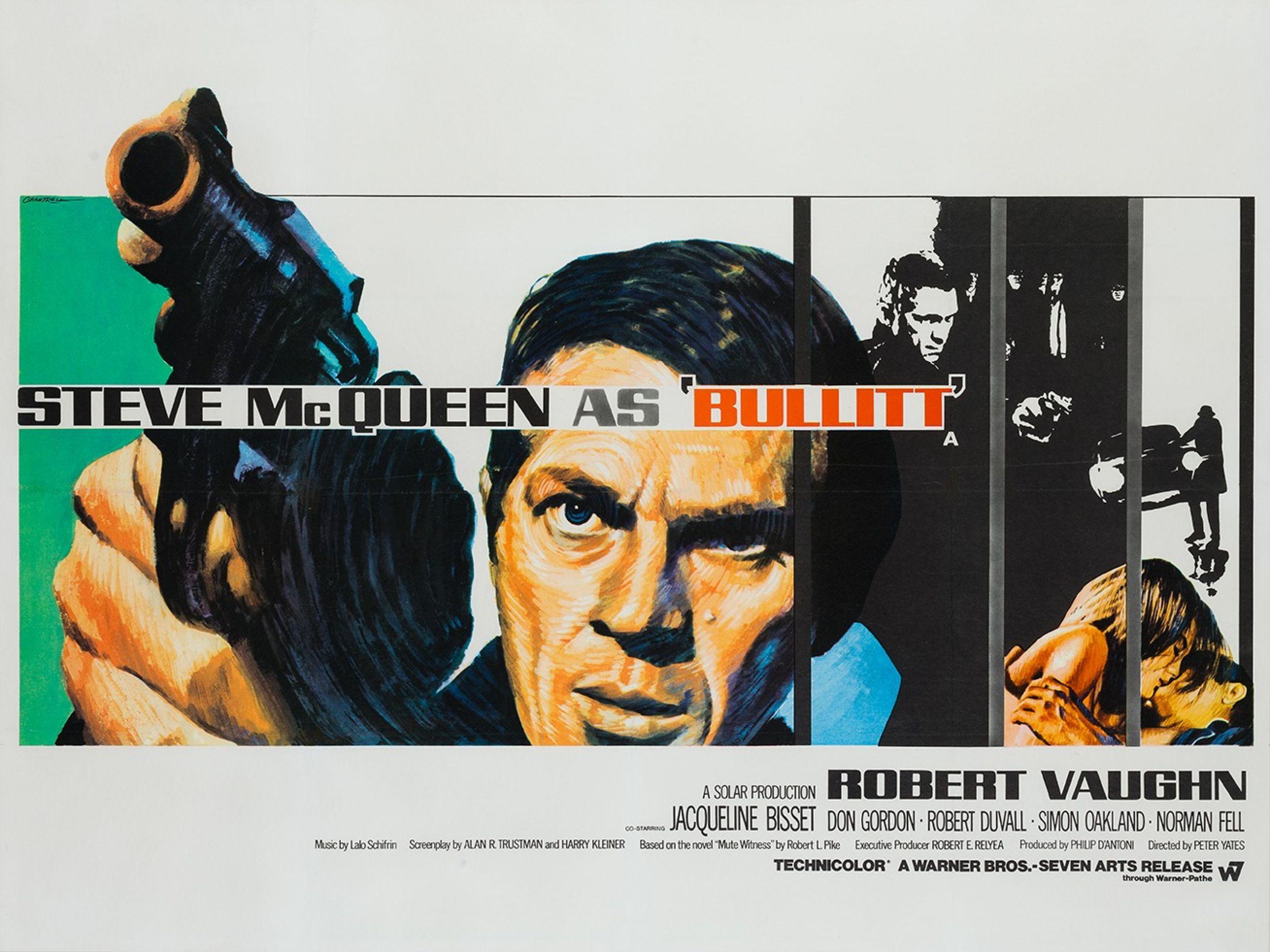 Original Bullitt 1968 British Film Movie Poster, Tom Chantrell, Steve McQueen