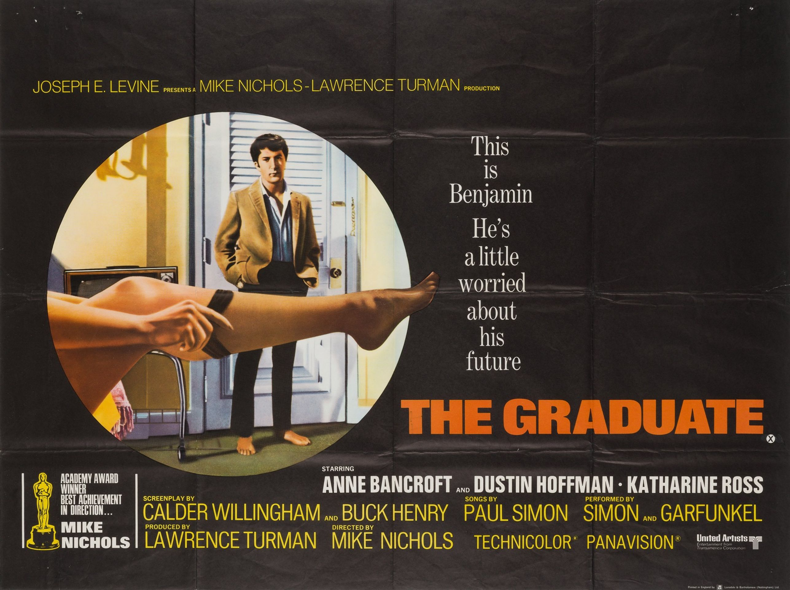 Original The Graduate 1967 British Film Movie Poster, Dustin Hoffman
