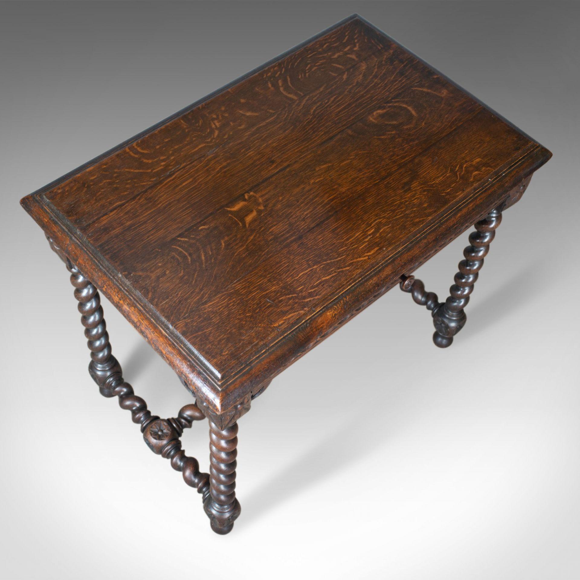 Antique Table, Scottish, Oak, Carved, Barley Twist, Side, Circa 1880
