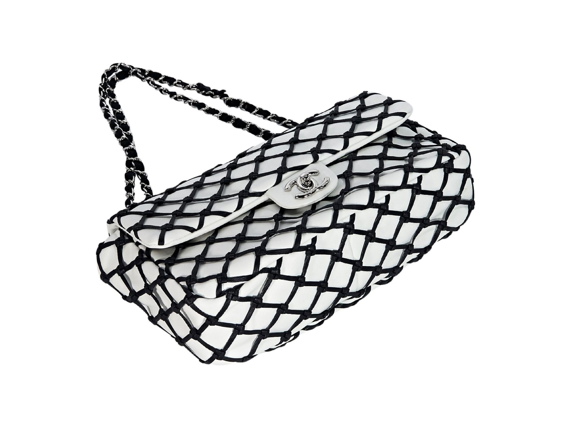 White & Black Chanel 2011 Canebiers Jumbo Flap Bag