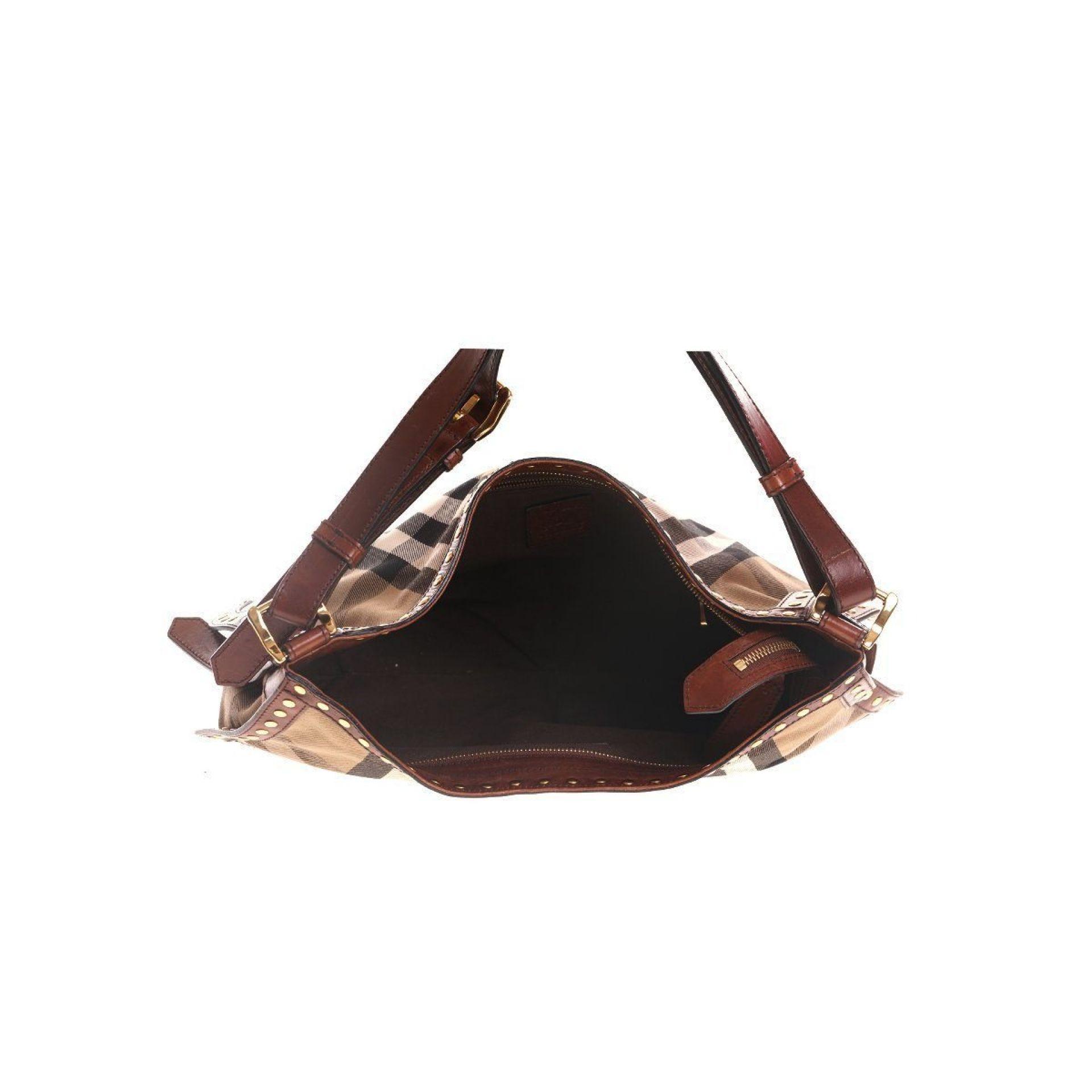 Brown Burberry Plaid Studded Shoulder Bag
