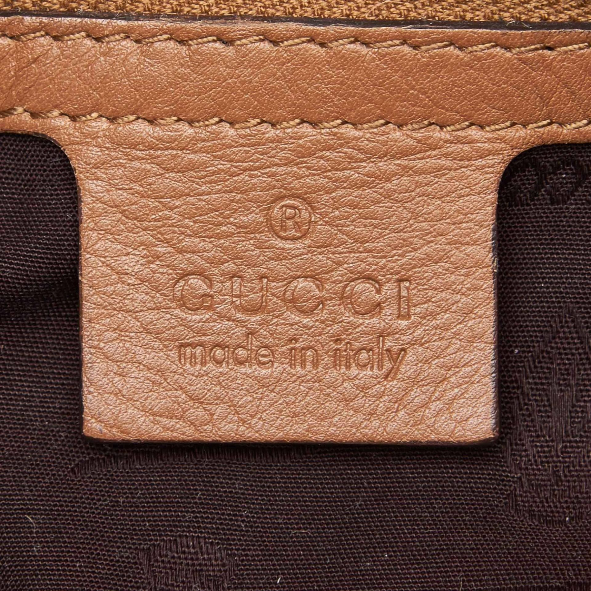 Tan Gucci Leather Guccissima Icon Bit Satchel