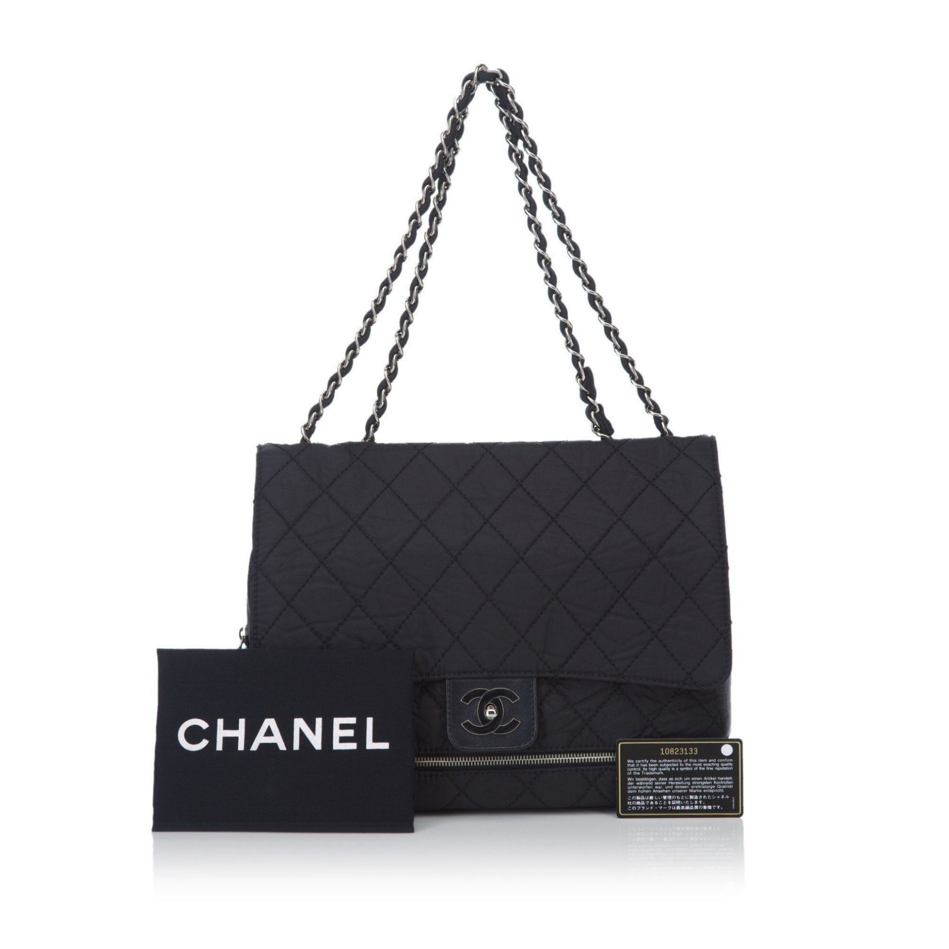 Black Chanel Nylon Matelasse Shoulder Bag