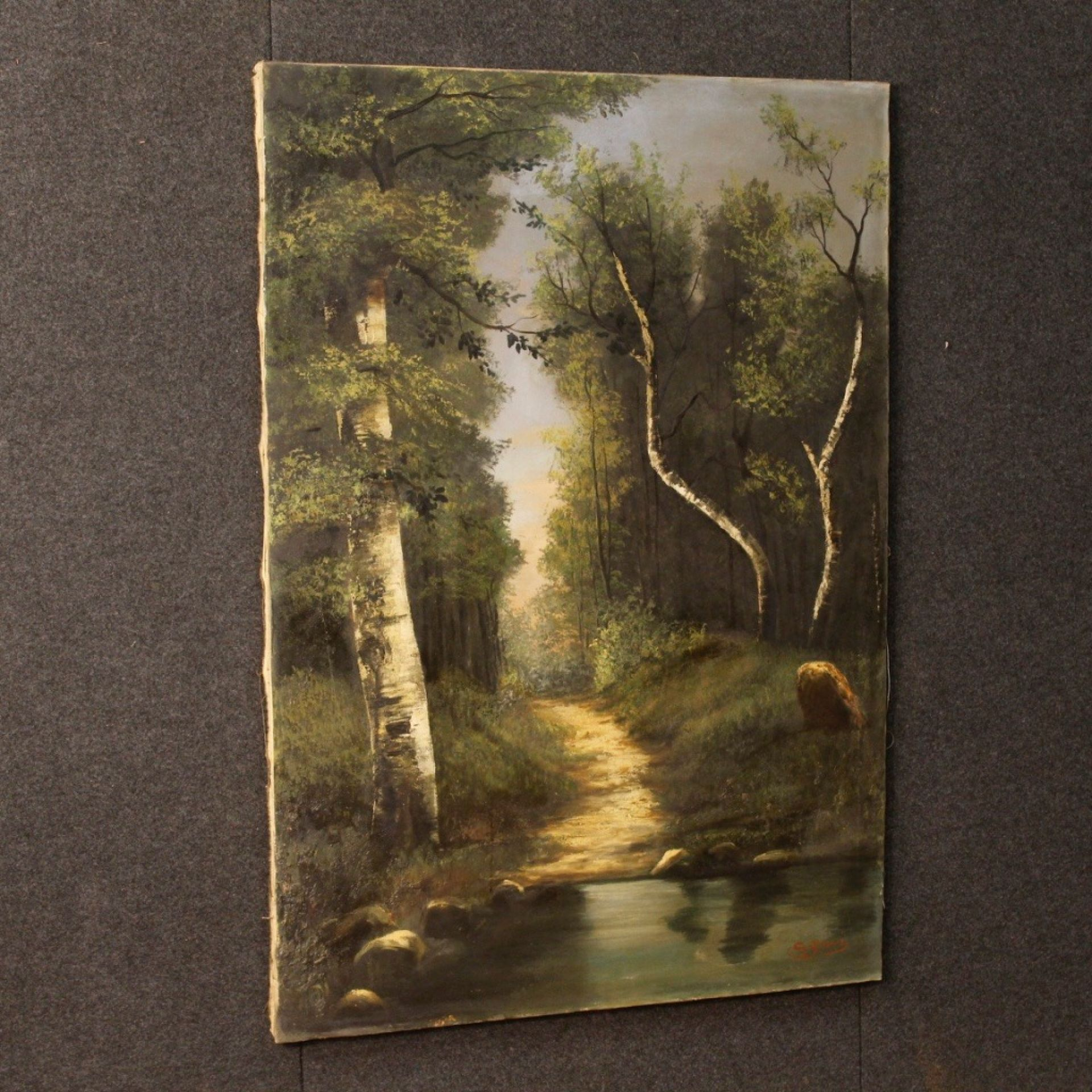 20th Century Oil on Canvas Italian Impressionist Style Signed Landscape Painting