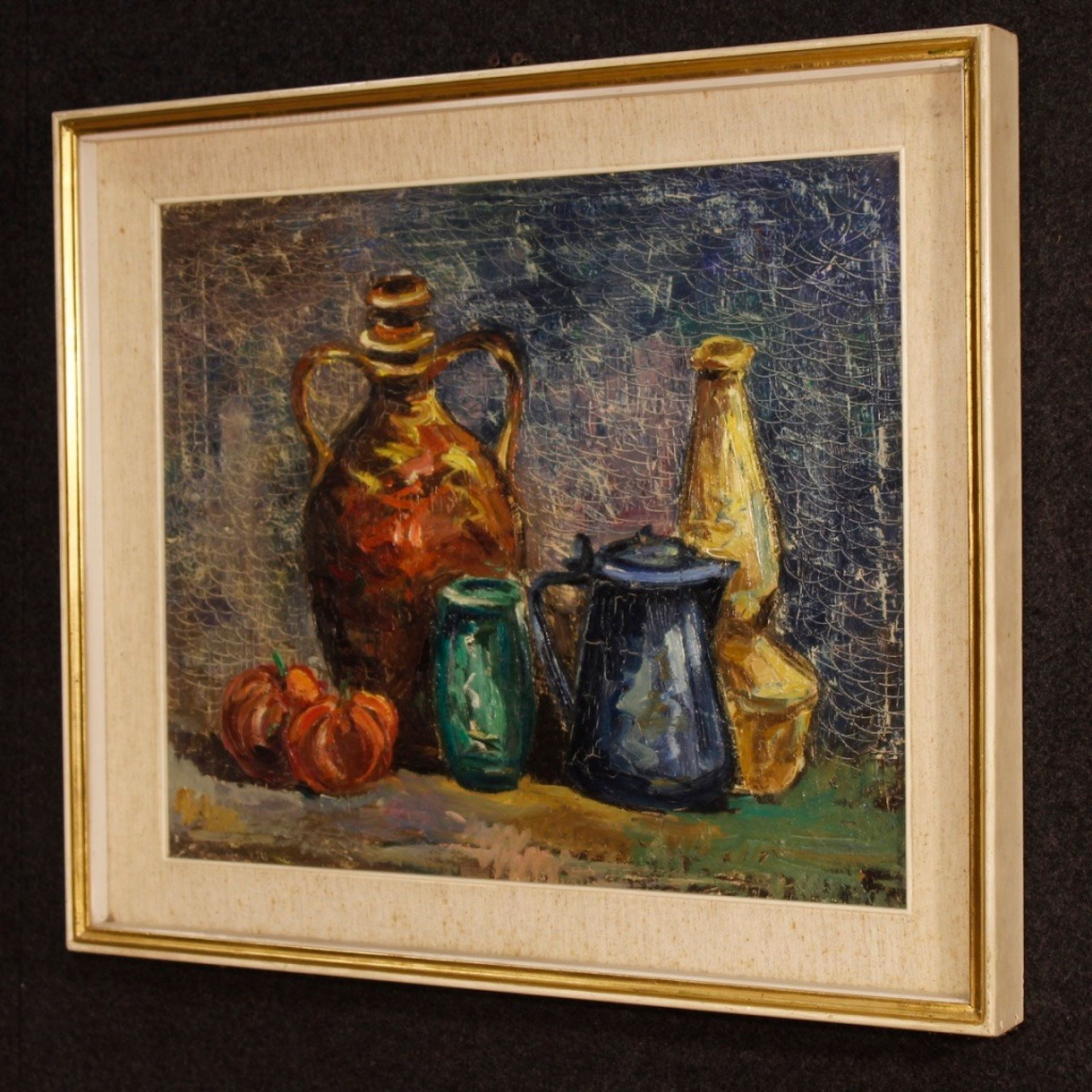 20th Century Oil on Canvas Italian Still Life Impressionist Style Painting, 1970