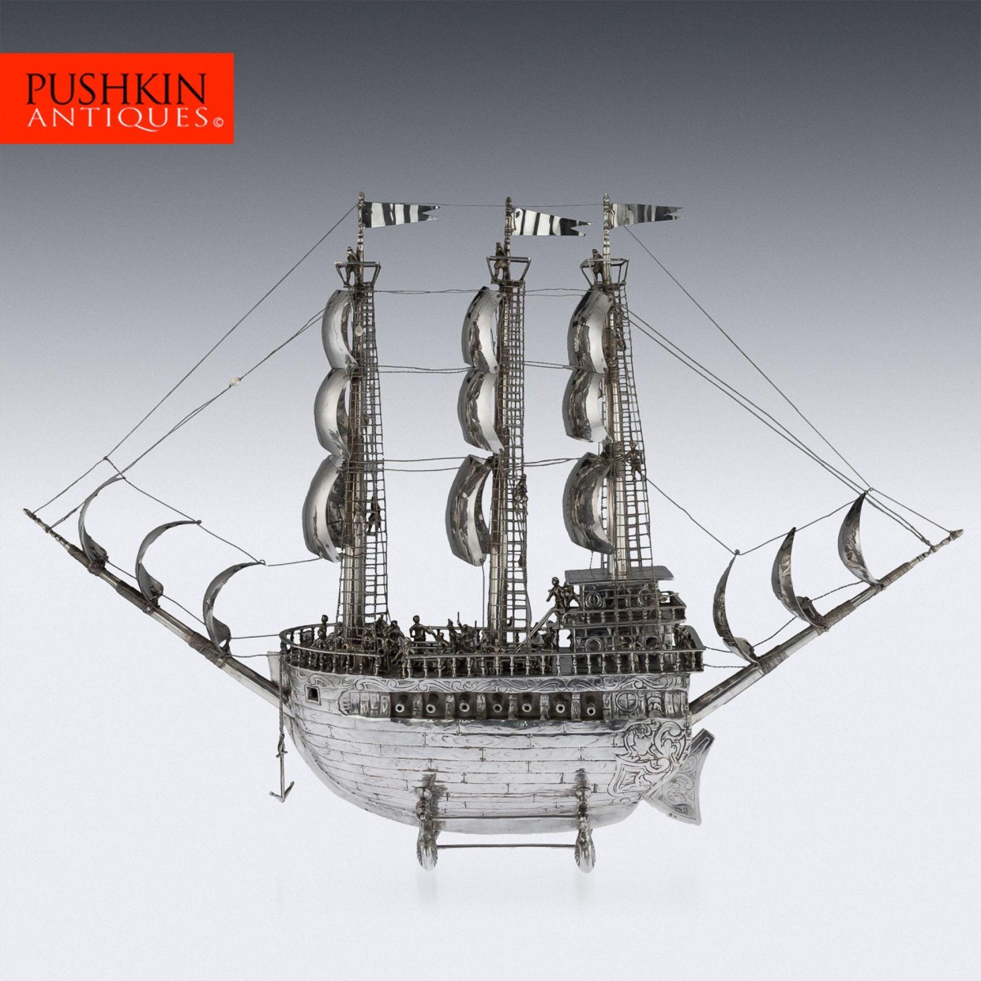ANTIQUE 20thC SPANISH SOLID SILVER IMPRESSIVE LARGE NEFF GALLEON SHIP c.1930