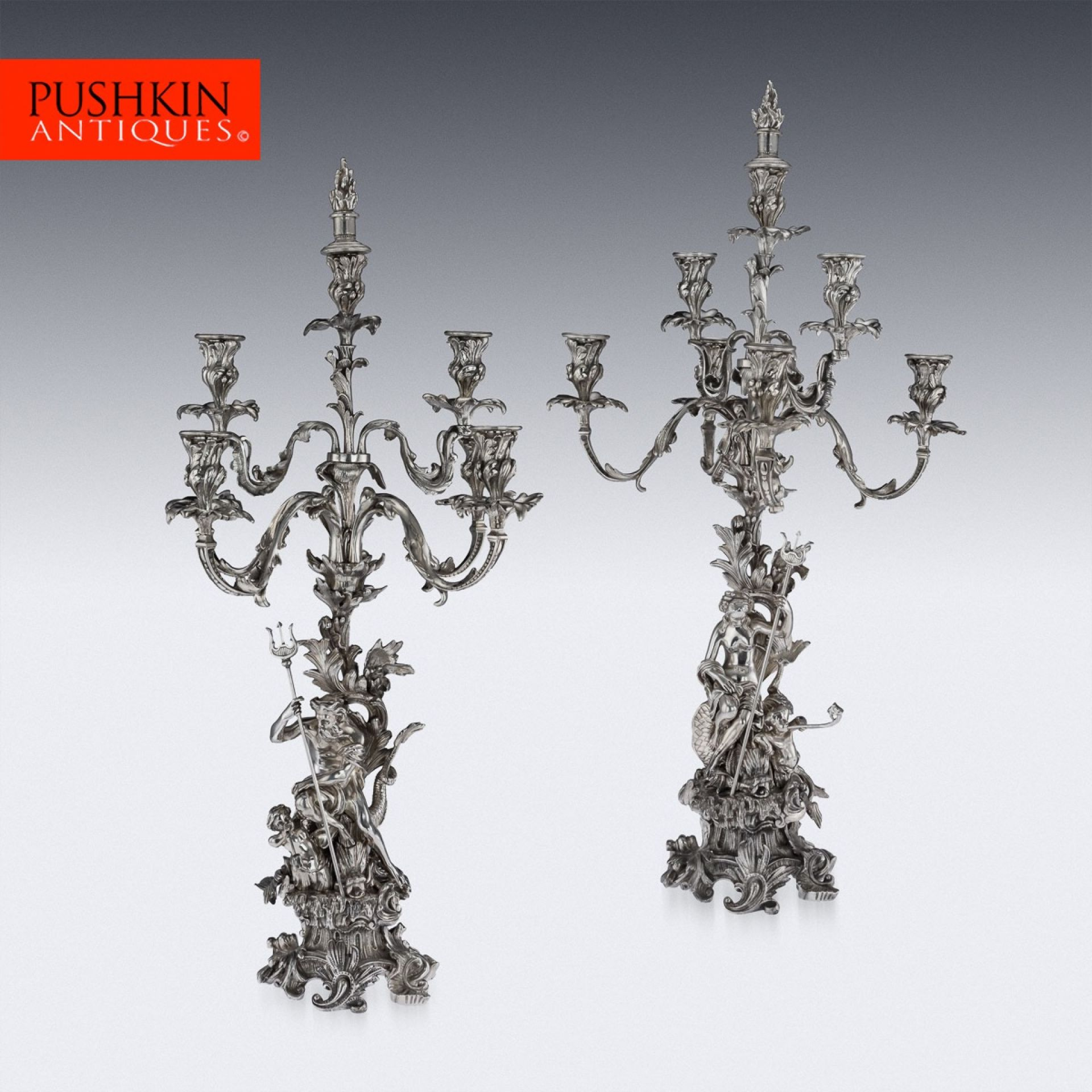 ANTIQUE 19thC FRENCH SILVERED BRONZE PAIR OF CANDELABRA, PARIS c.1870
