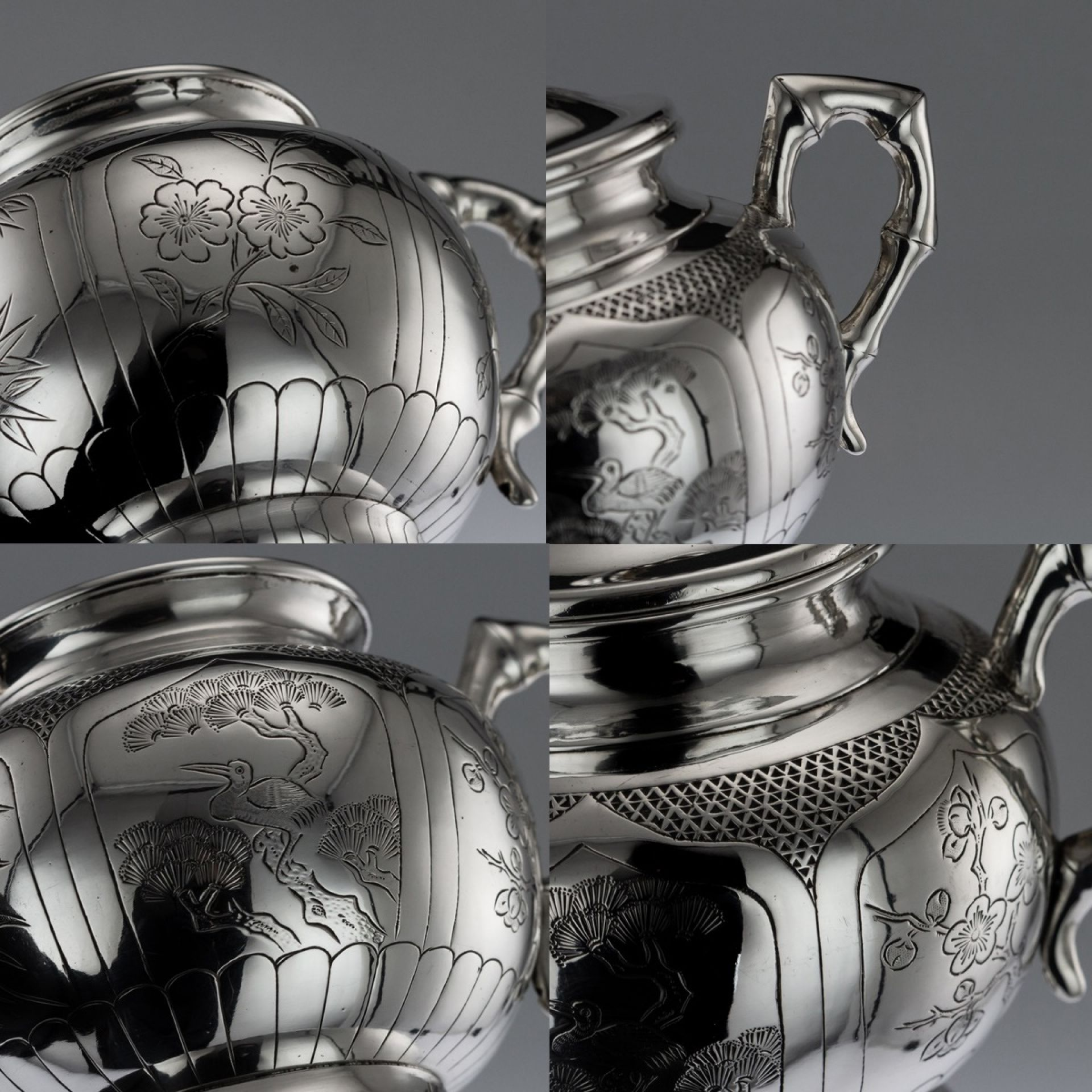 ANTIQUE 20thC CHINESE SOLID SILVER 3 PIECE TEA SET ON TRAY c.1910