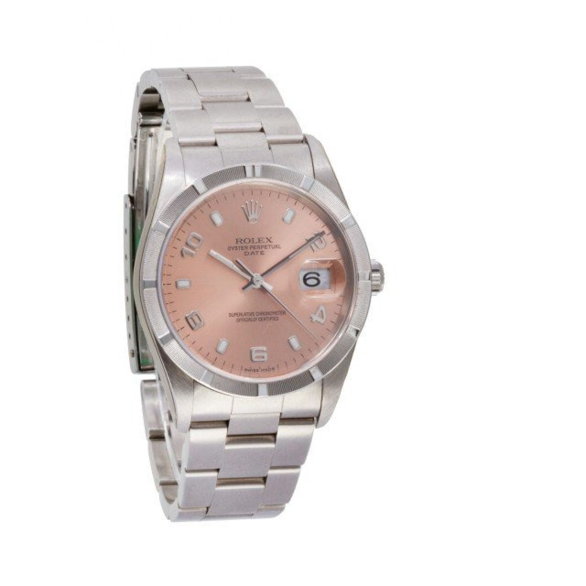 Rolex Date 15210 stainless steel Pink dial 34mm auto watch