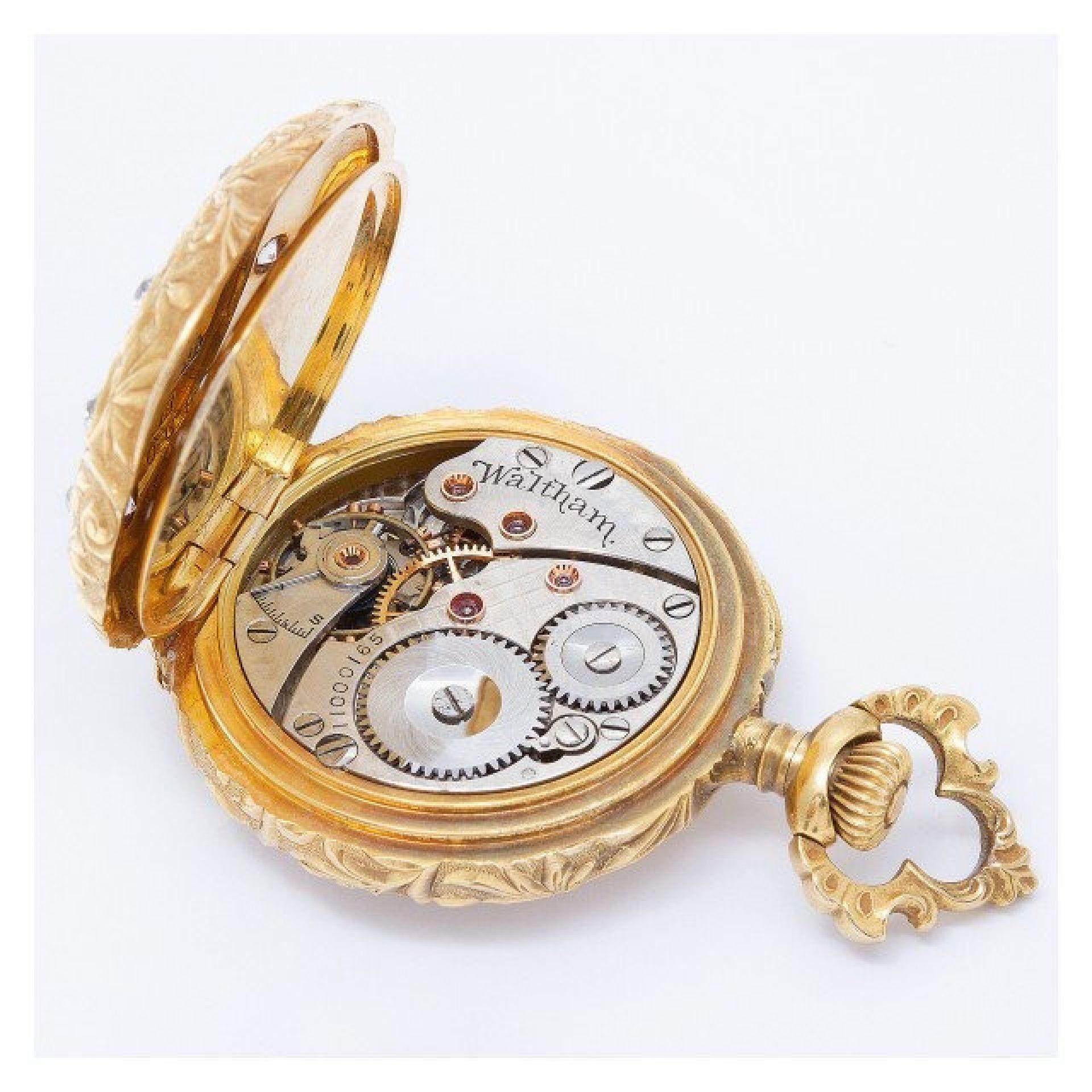 Waltham pocket watch 18k White dial 27mm Manual watch
