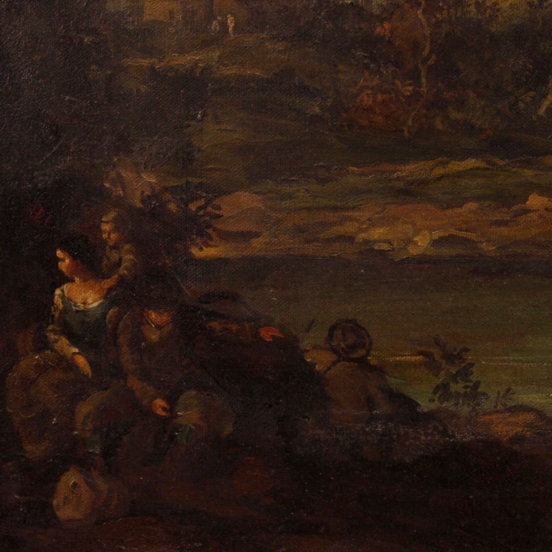 20th Century Oil on Canvas Italian Landscape with Characters Painting, 1970