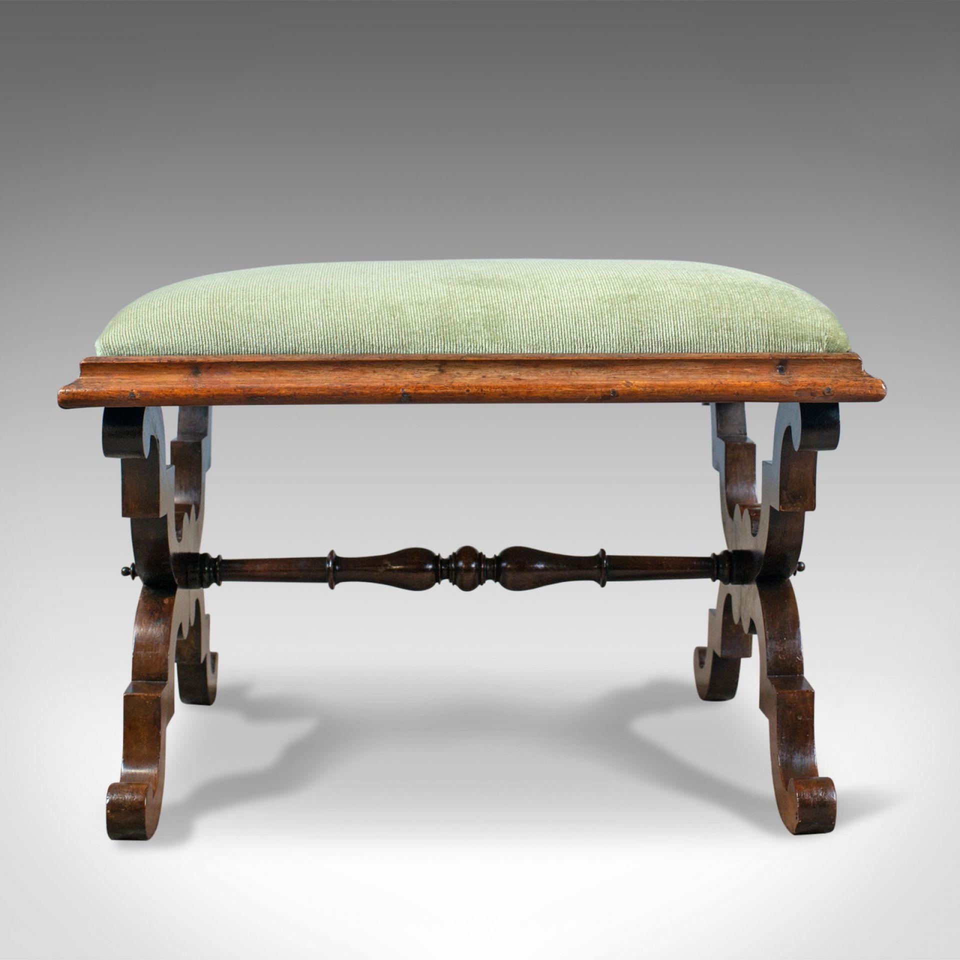 Antique Dressing Stool, Rosewood, Olive Green Cloth, English, Regency, c. 1820