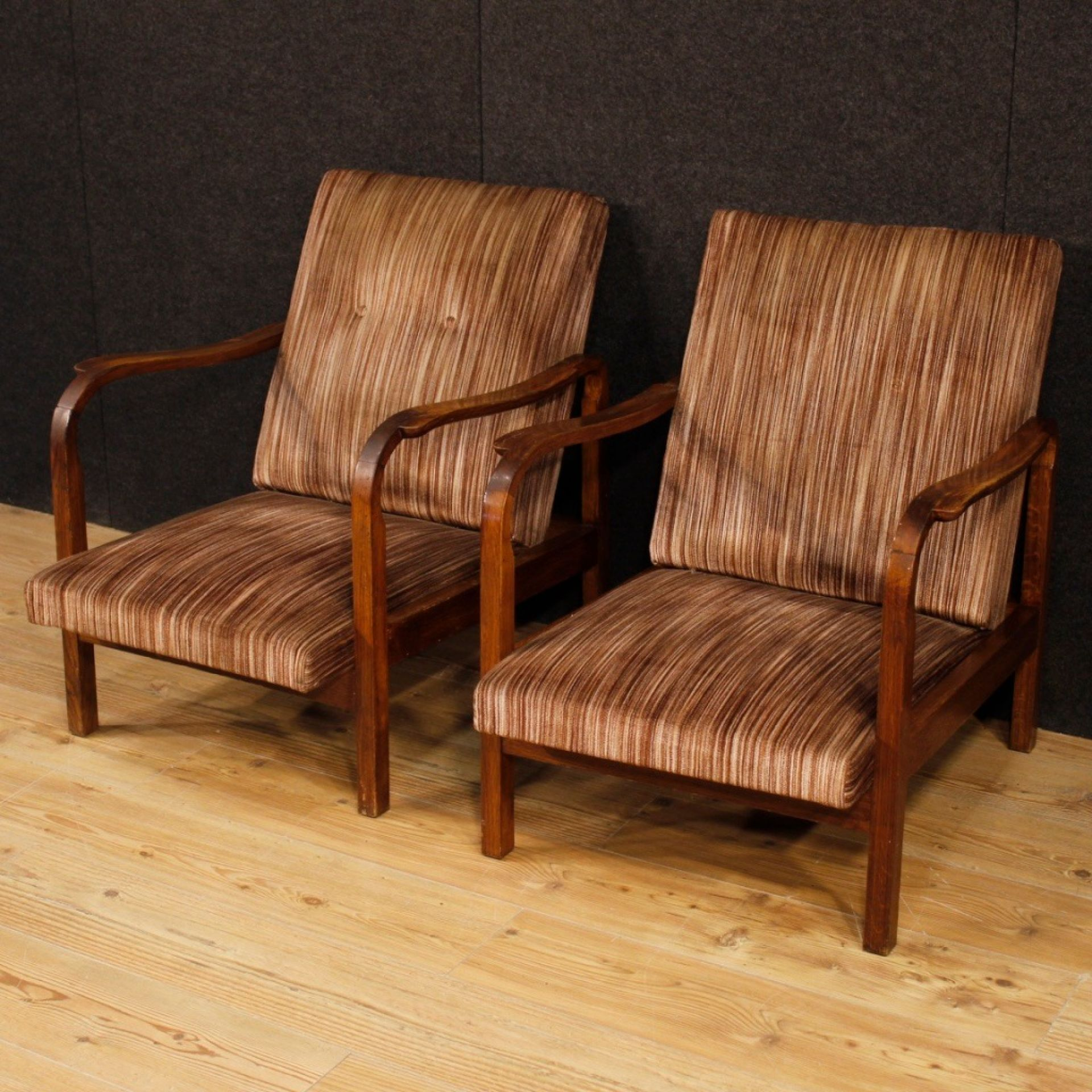 20th Century Wood With Stripped Fabric Italian Design Armchairs, 1970