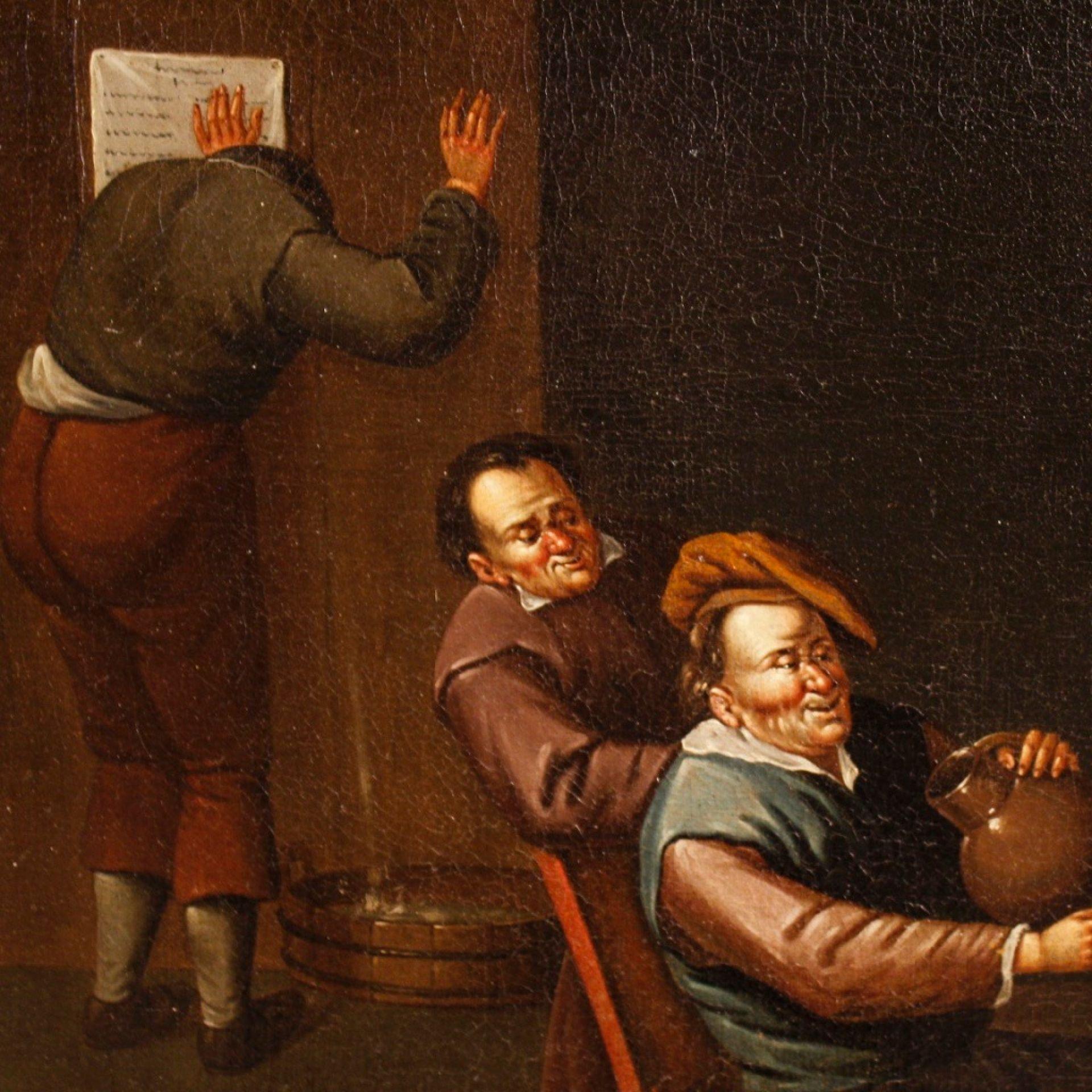 17th Century Oil On Canvas Flemish Interior Scenes Paintings, 1690