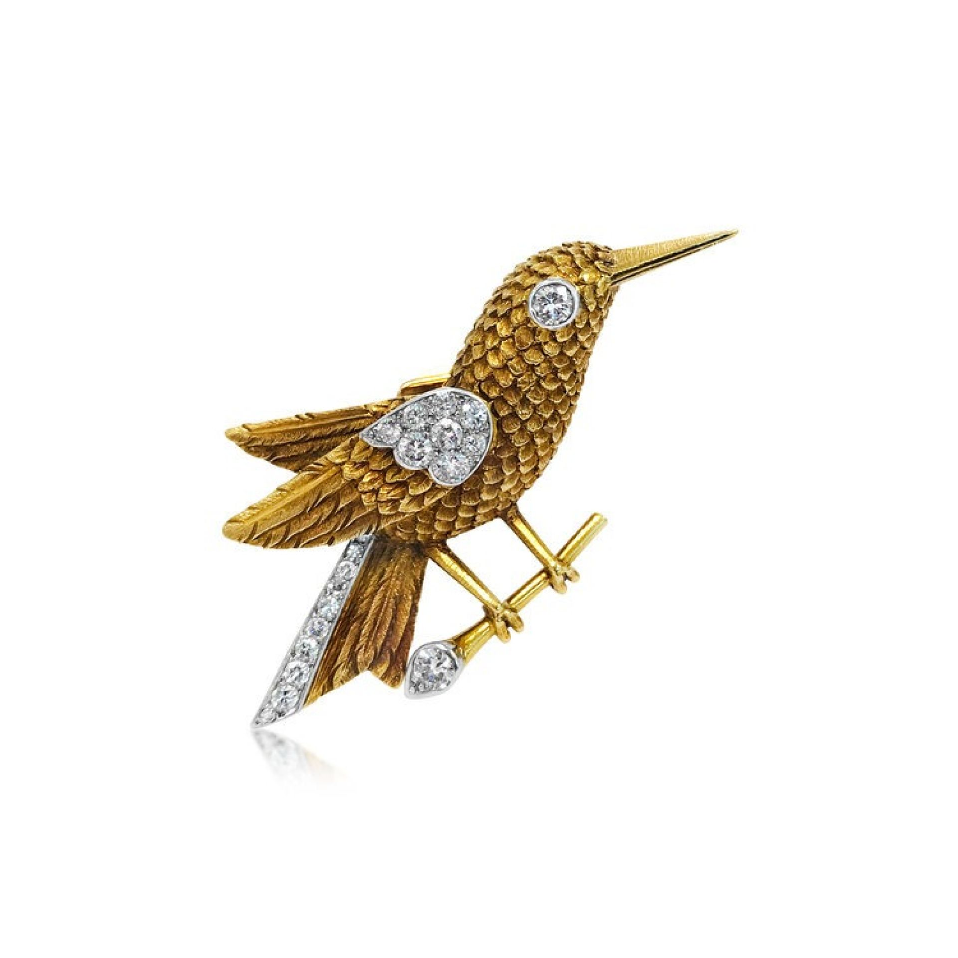 A DIAMOND AND YELLOW GOLD BIRD BROOCH