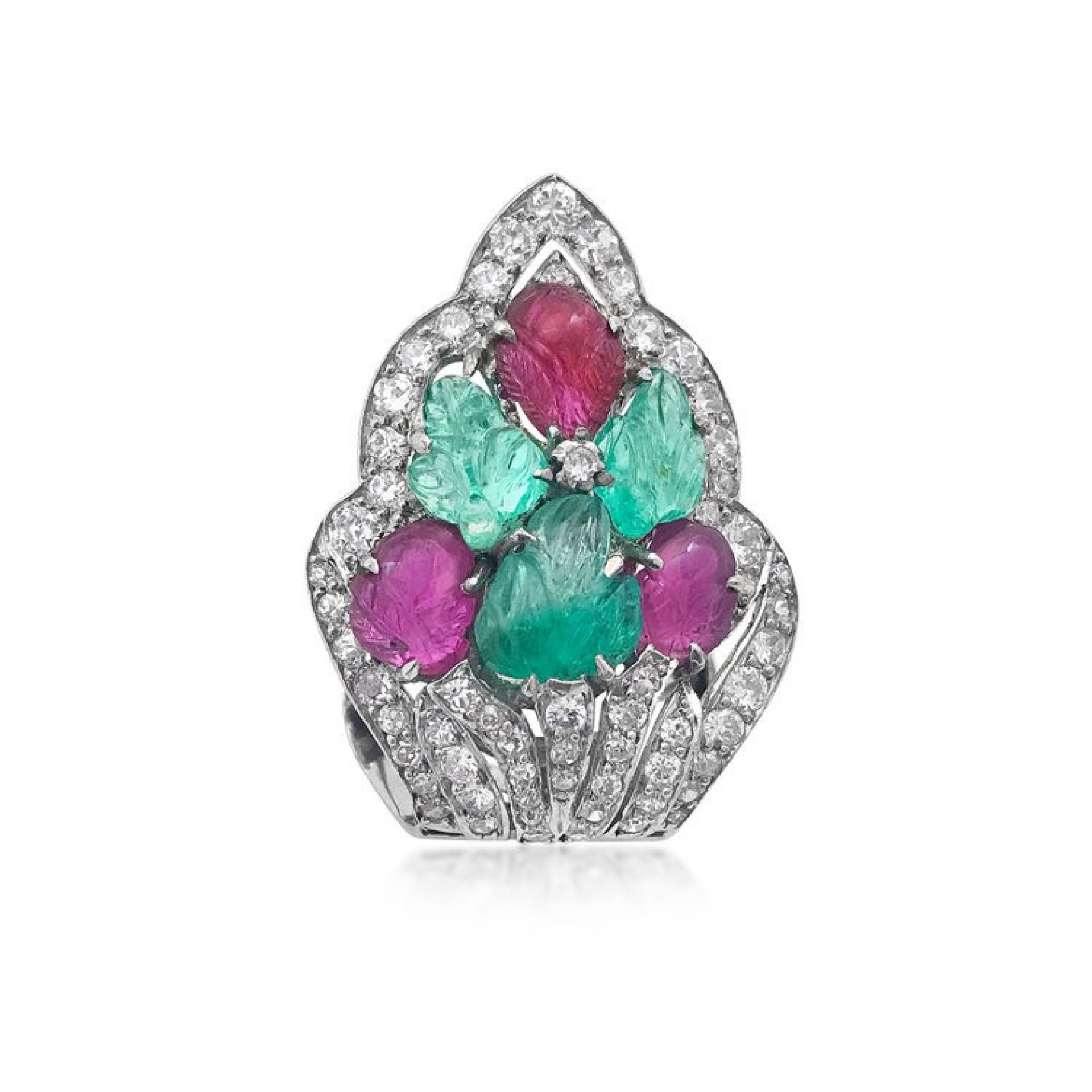 AN ART DECO TUTTI FRUTTI GEM-SET & DIAMOND CLIP BROOCH