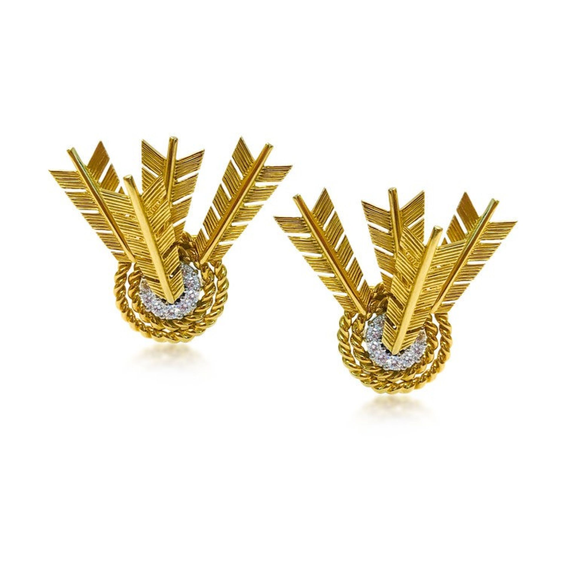 A PAIR OF GOLD AND DIAMOND TARGET ARROW EARRINGS