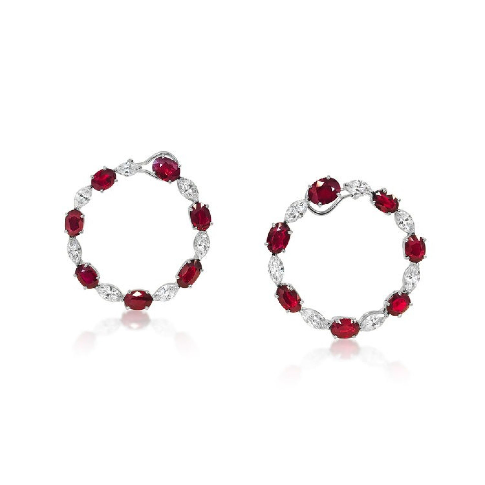 A PAIR OF RUBY AND DIAMOND HOOP EAR CLIPS